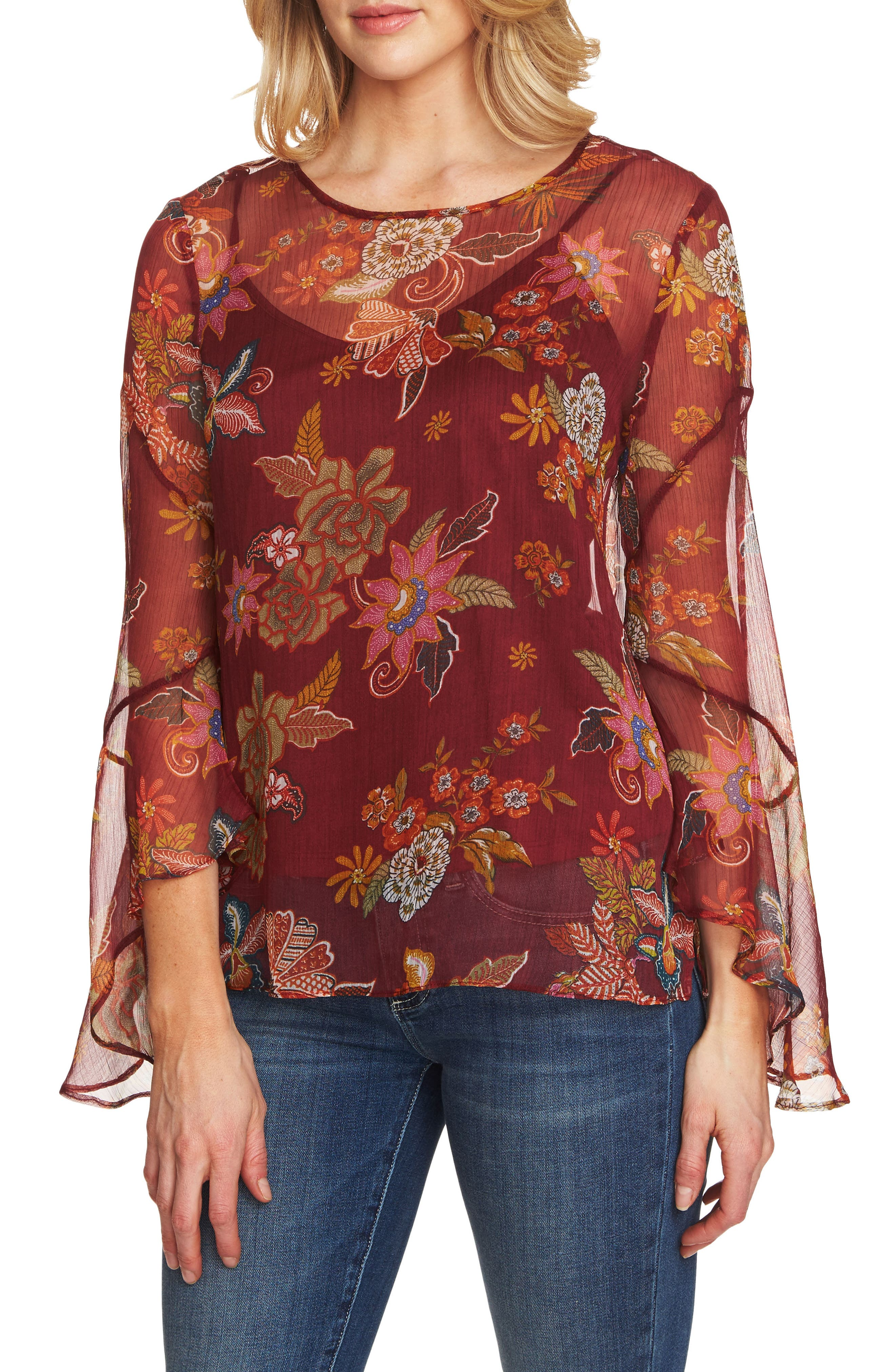 Flared Sleeve Floral Top,                             Main thumbnail 1, color,                             Dahlia Red
