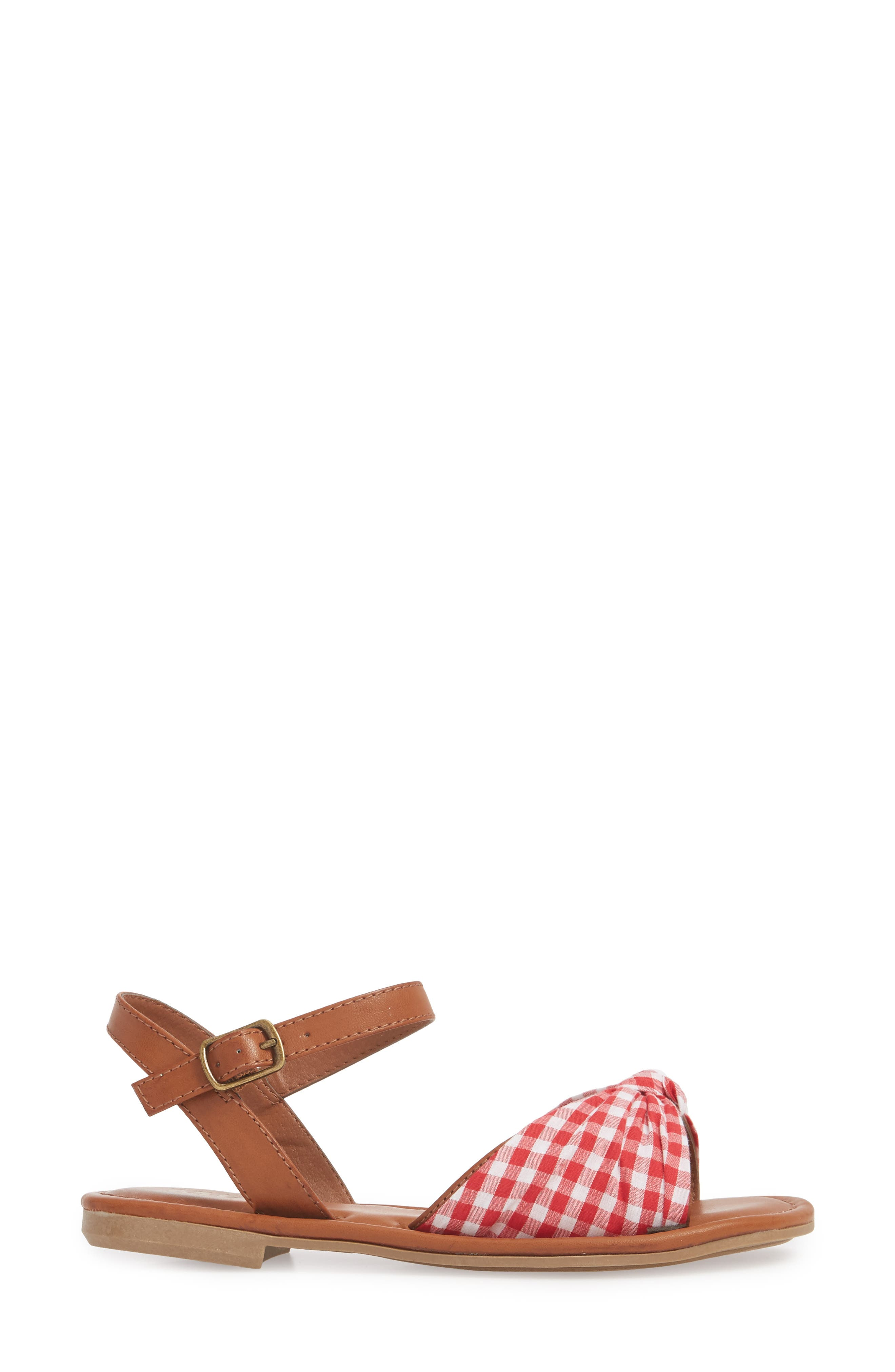 Neala Bow Sandal,                             Alternate thumbnail 3, color,                             Red/ White Fabric