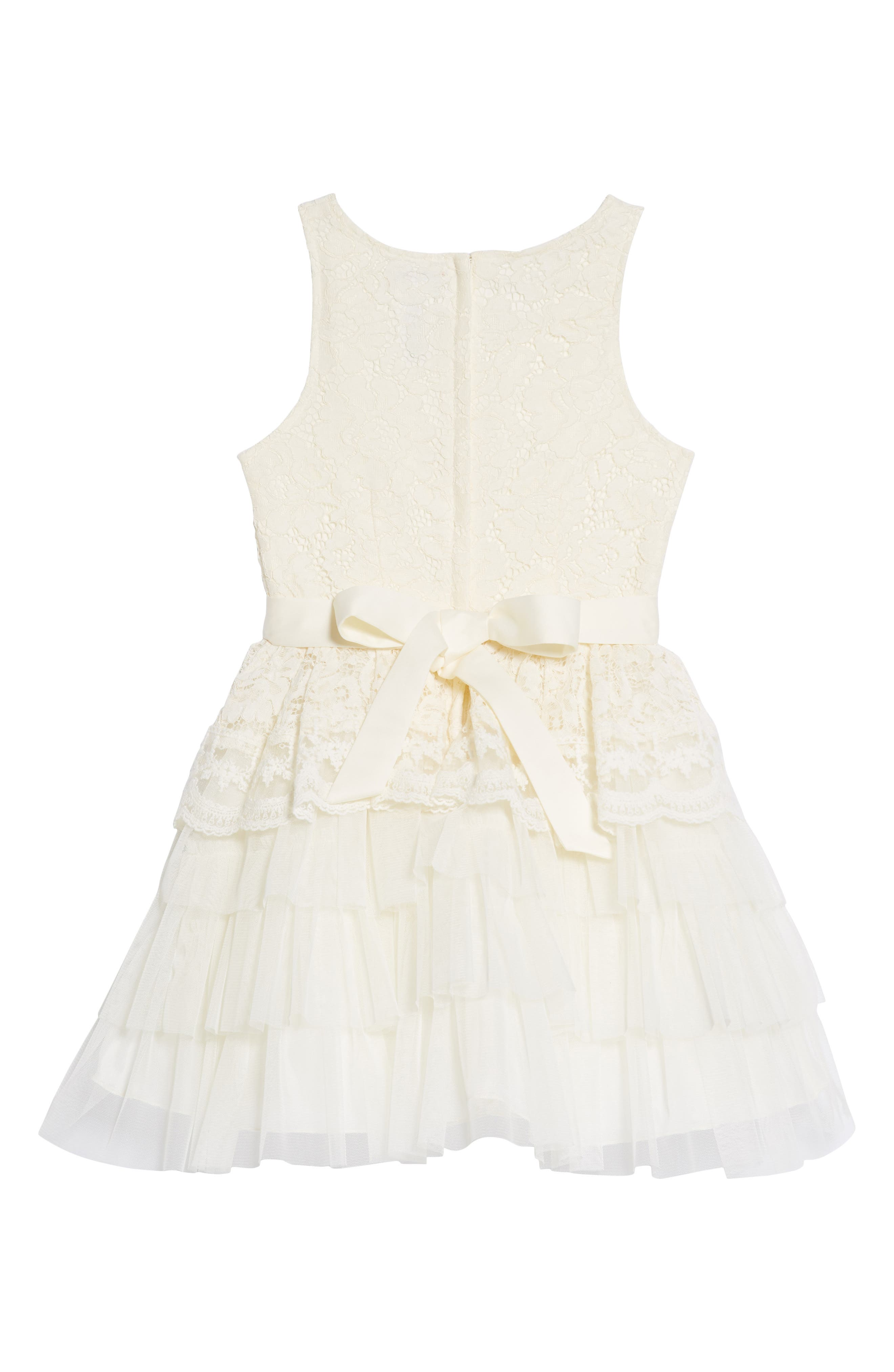 Tiered Lace & Tulle Dress,                             Alternate thumbnail 2, color,                             Cream