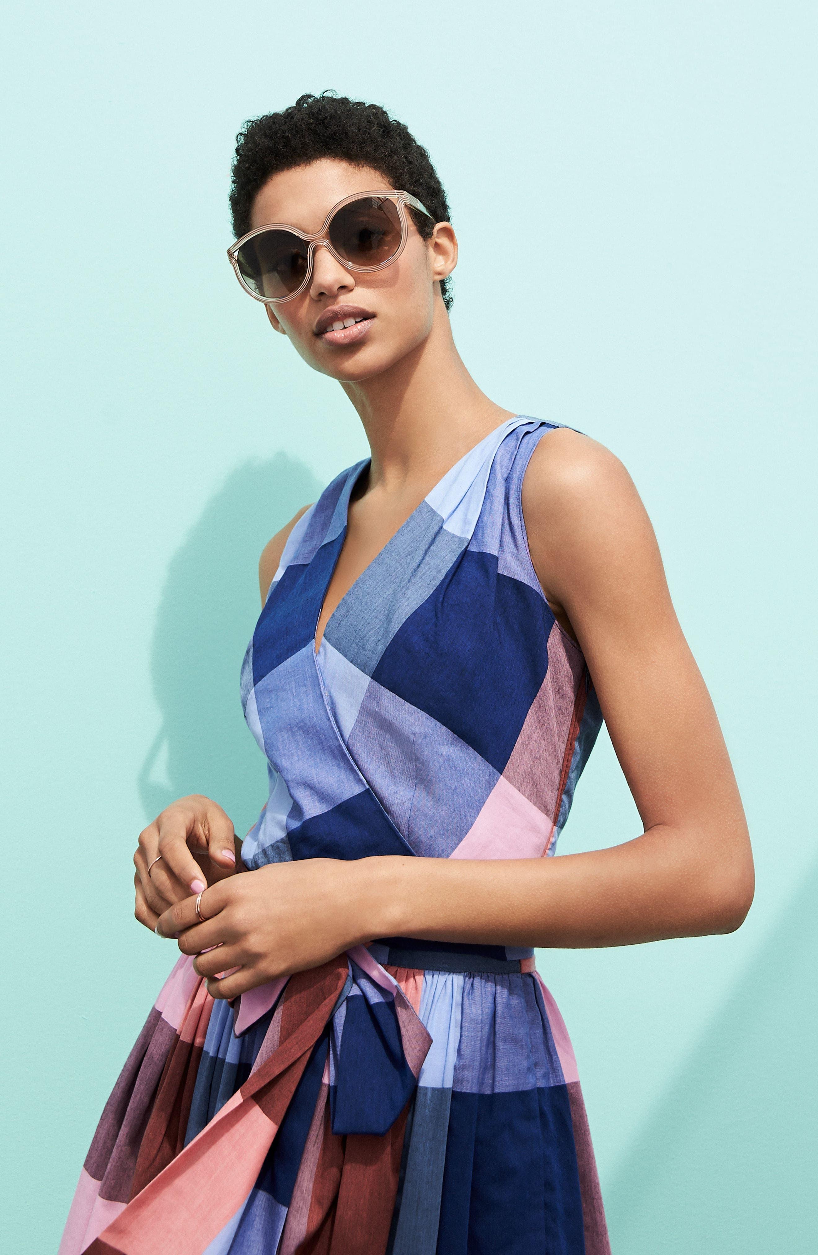 Plaid Cotton Wrap Style Dress,                             Alternate thumbnail 8, color,