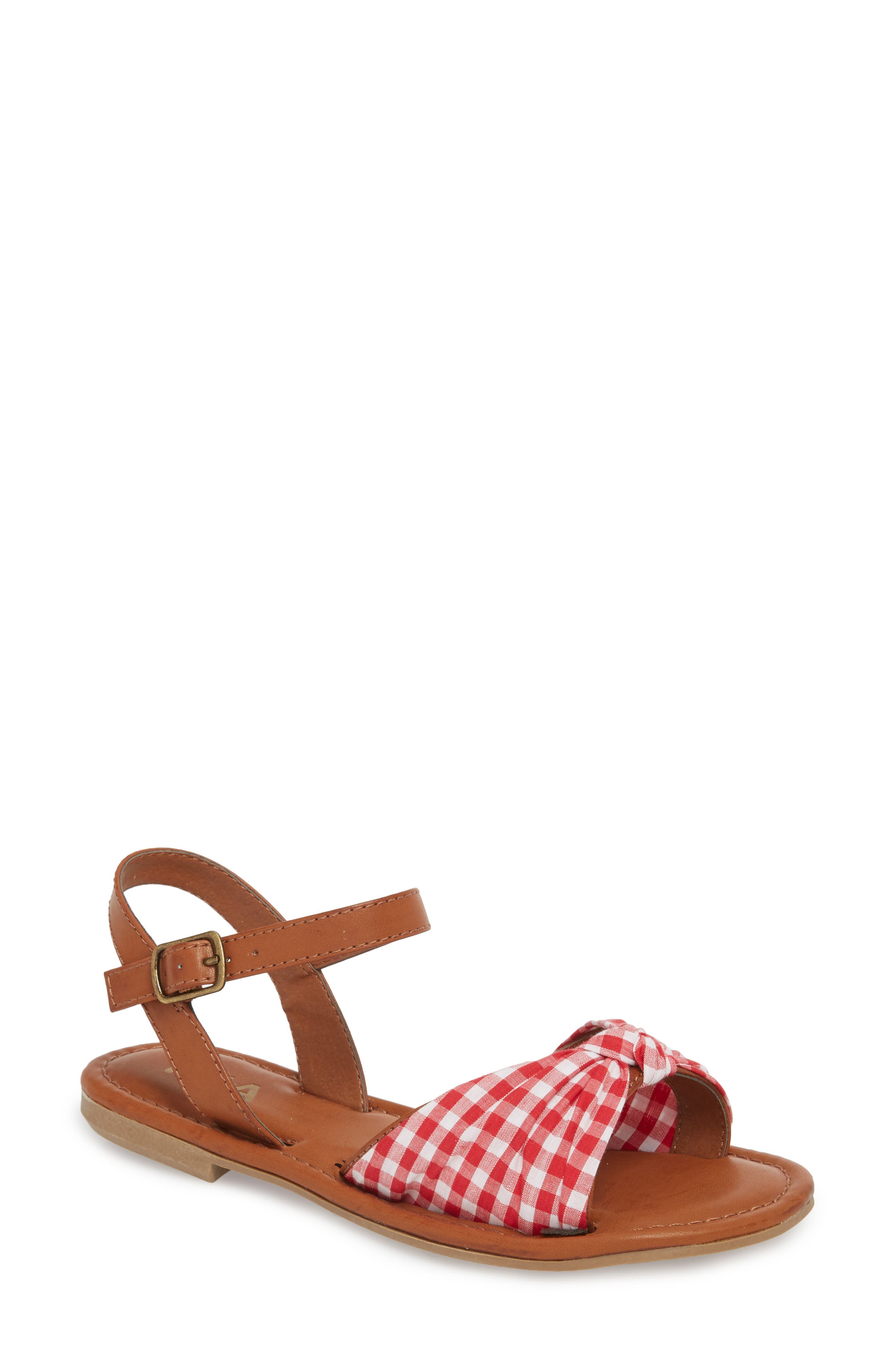 Neala Bow Sandal,                             Main thumbnail 1, color,                             Red/ White Fabric