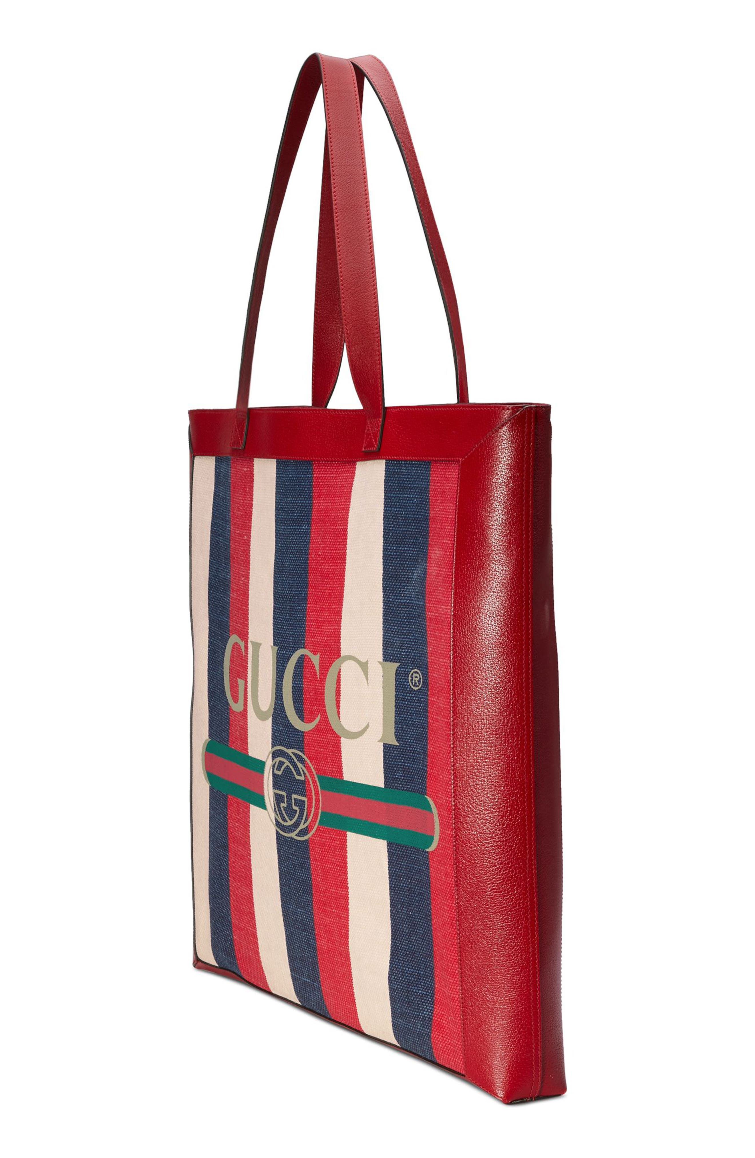 Stripe Canvas Tote,                             Alternate thumbnail 4, color,                             Hibiscus Red/ White/ Blue