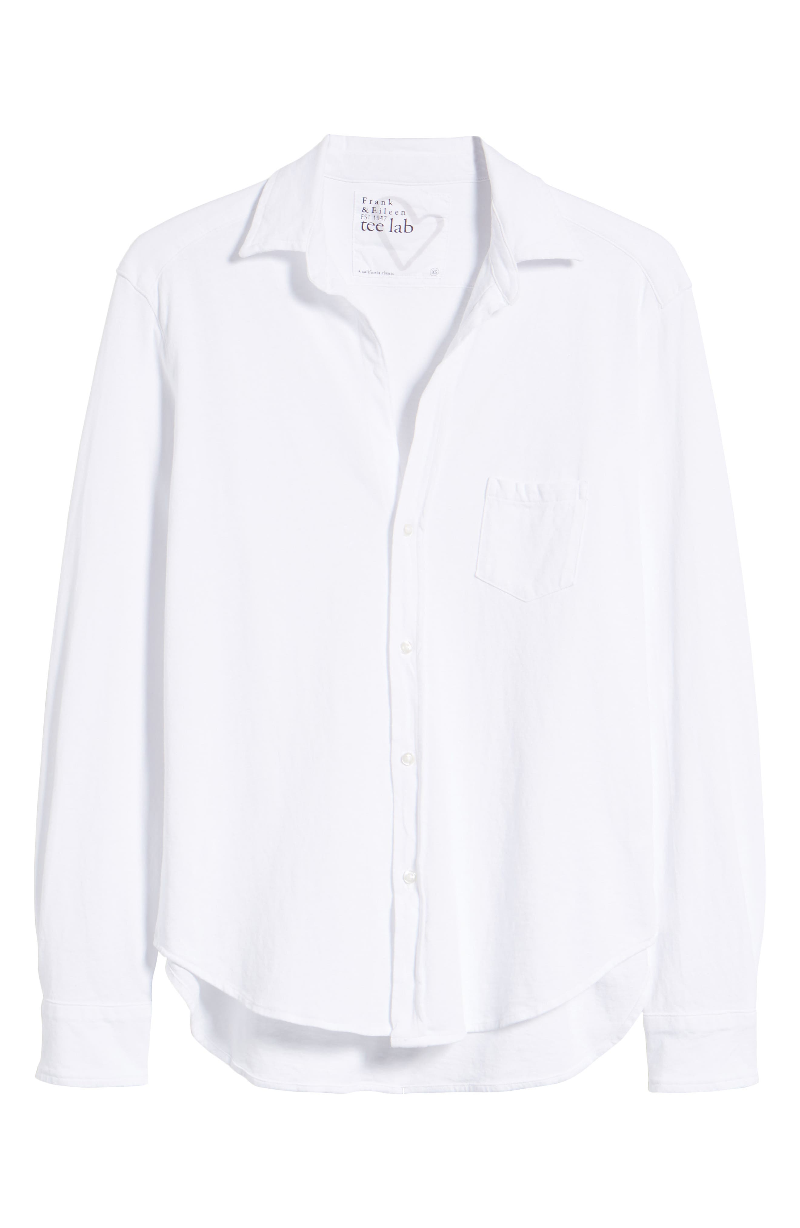 Button Front Jersey Shirt,                             Alternate thumbnail 7, color,                             Whiteout