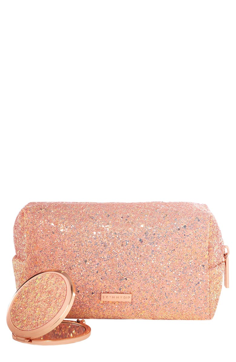 Skinny Dip Sunset Pink + Rose Gold Glitter Bag & Mirror Duo,                         Main,                         color, No Color
