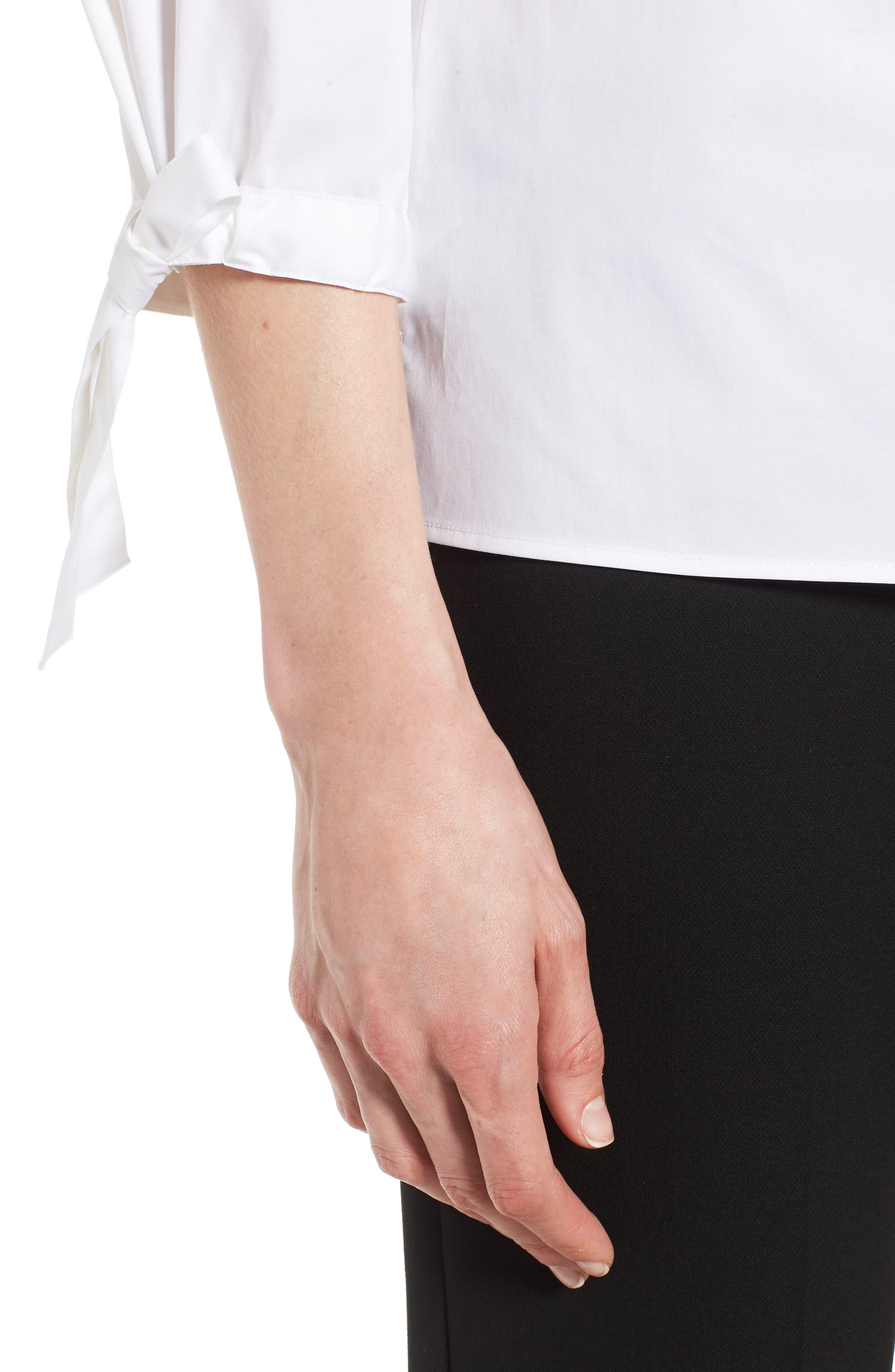 Biulepa Stretch Cotton Tie Sleeve Top,                             Alternate thumbnail 4, color,                             White