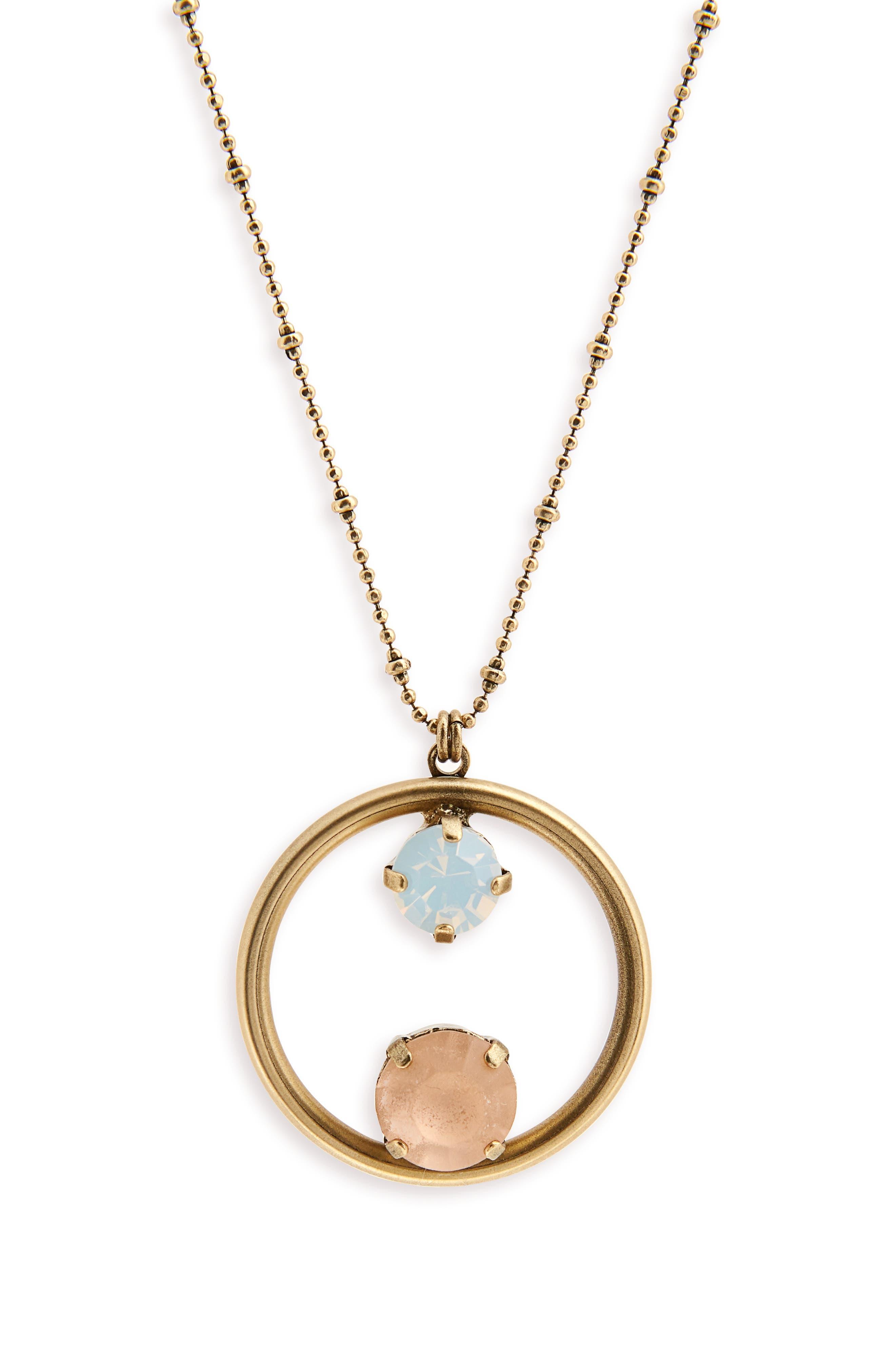 Cecelia Long Pendant Necklace,                         Main,                         color, Peach/ White