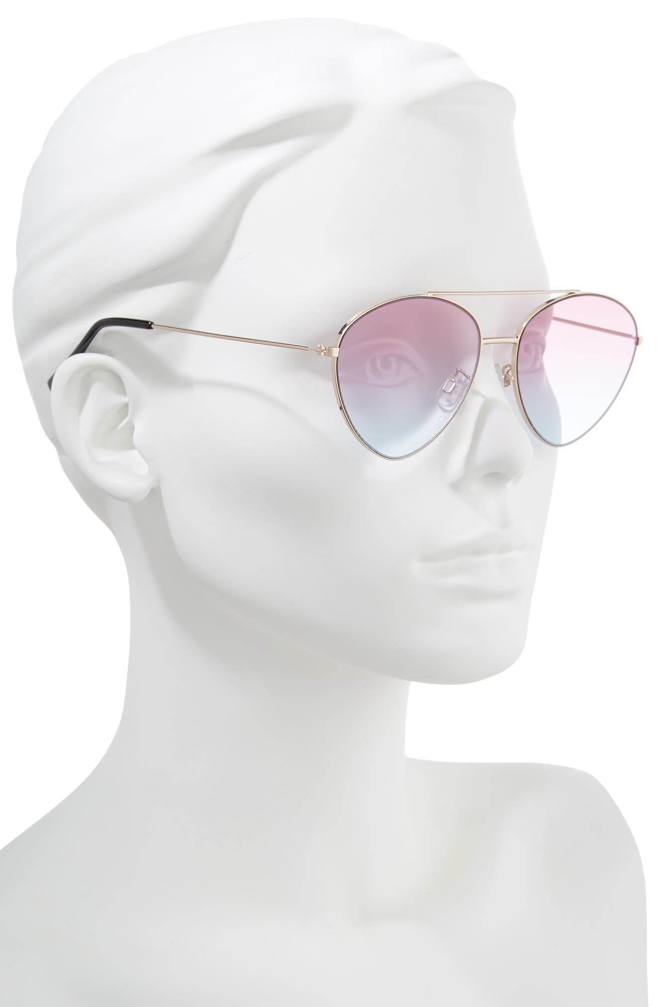 56mm Gradient Aviator Sunglasses,                             Alternate thumbnail 2, color,                             Gold/ Pink/ Blue
