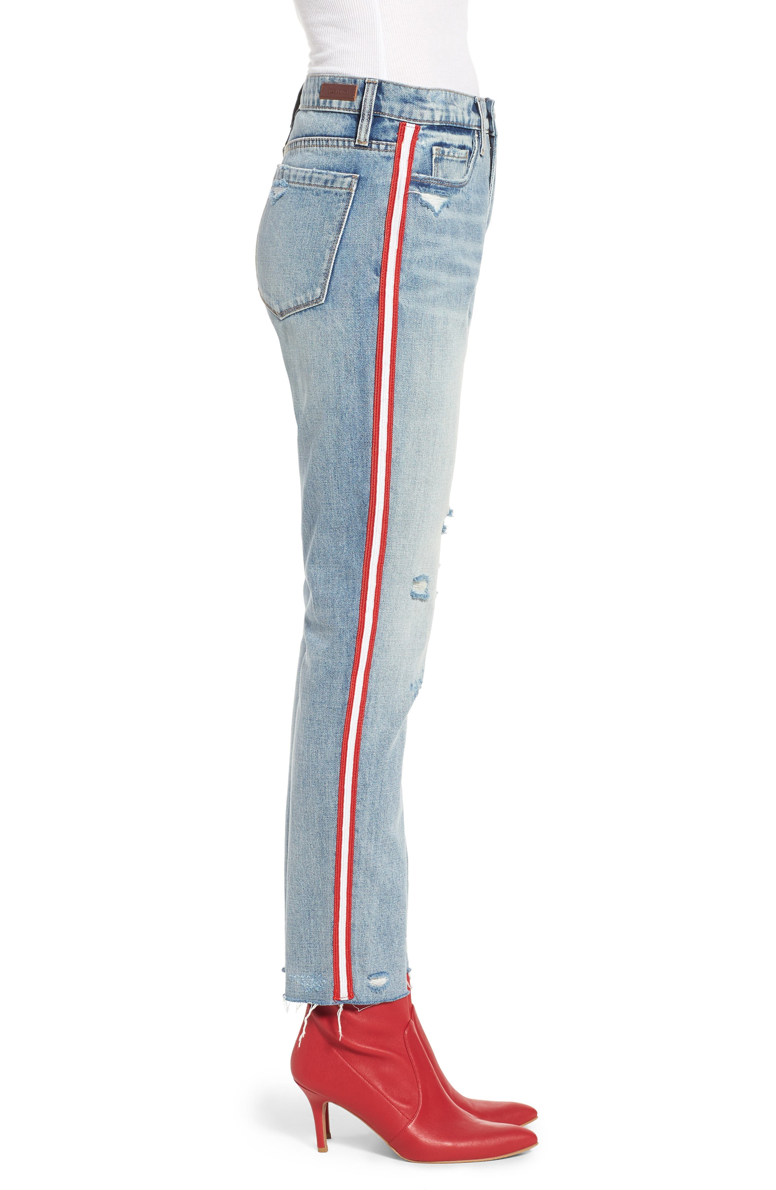 Now or Never Side Stripe Skinny Jeans,                             Alternate thumbnail 3, color,                             Blue