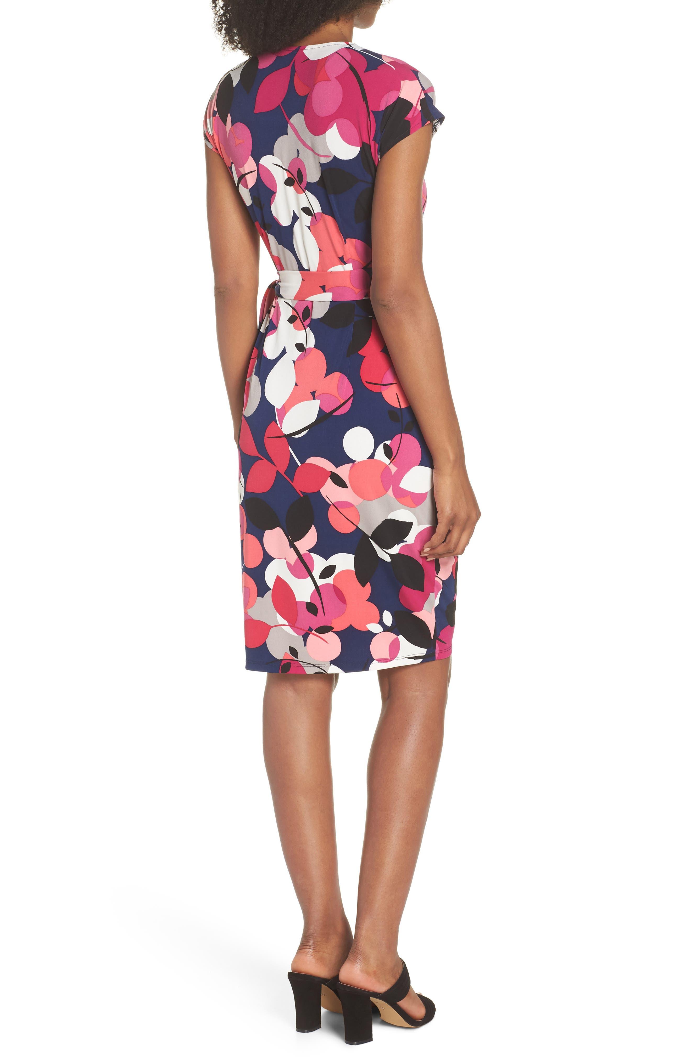 Berry Floral Wrap Dress,                             Alternate thumbnail 2, color,                             Navy/ Berry