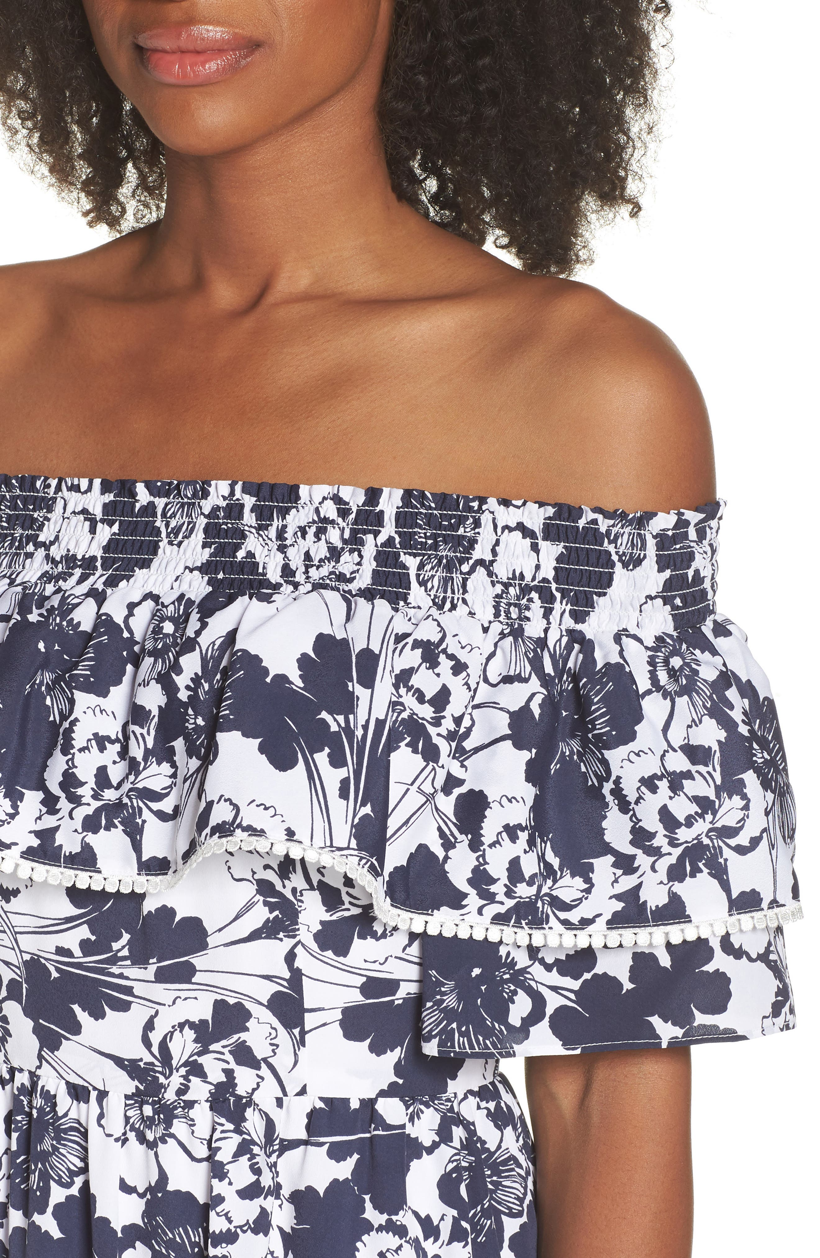 Off the Shoulder Ruffle Maxi Dress,                             Alternate thumbnail 6, color,                             Navy Ivory Floral Print