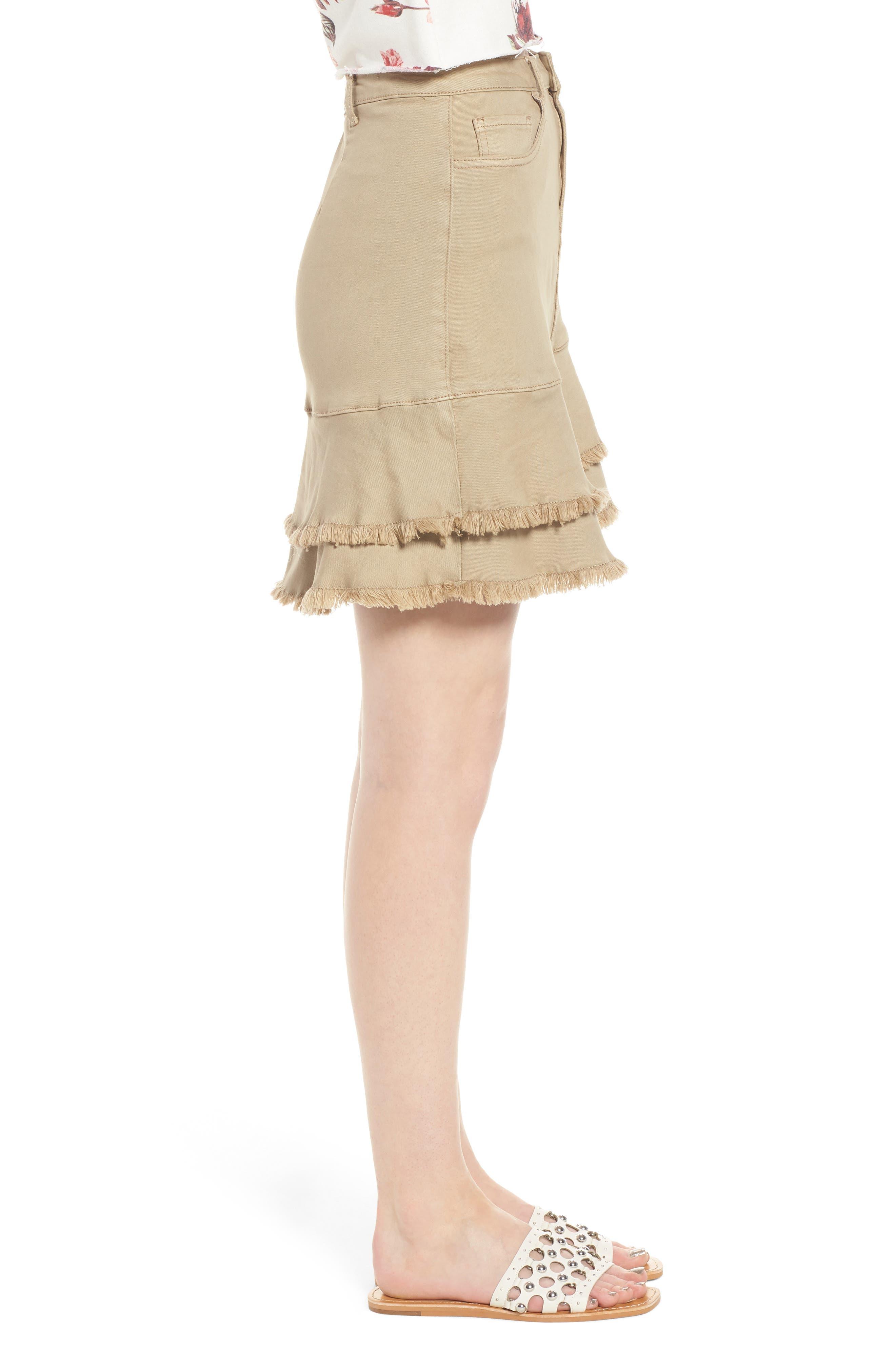 Tiered Fray Hem Skirt,                             Alternate thumbnail 3, color,                             Beige Nougat