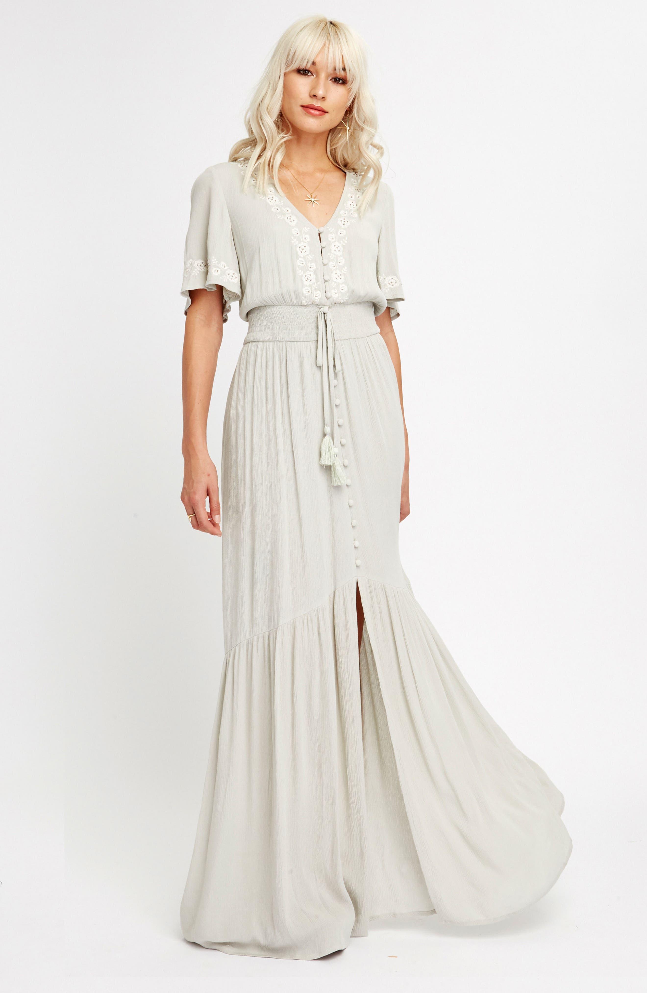 Athena Embroidered Maxi Dress,                             Alternate thumbnail 2, color,                             Sage