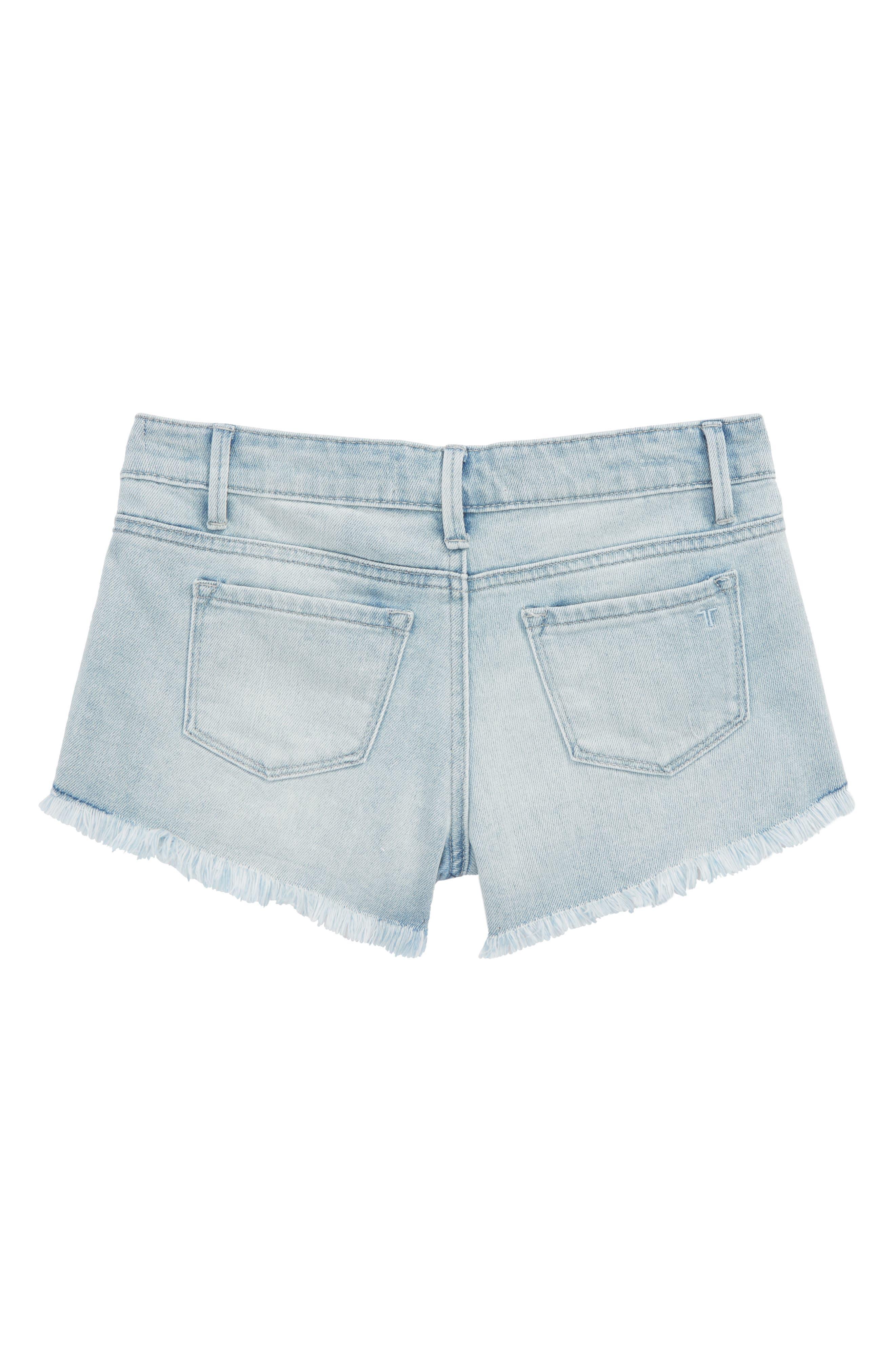 Lace Denim Shorts,                             Alternate thumbnail 2, color,                             Light Indigo
