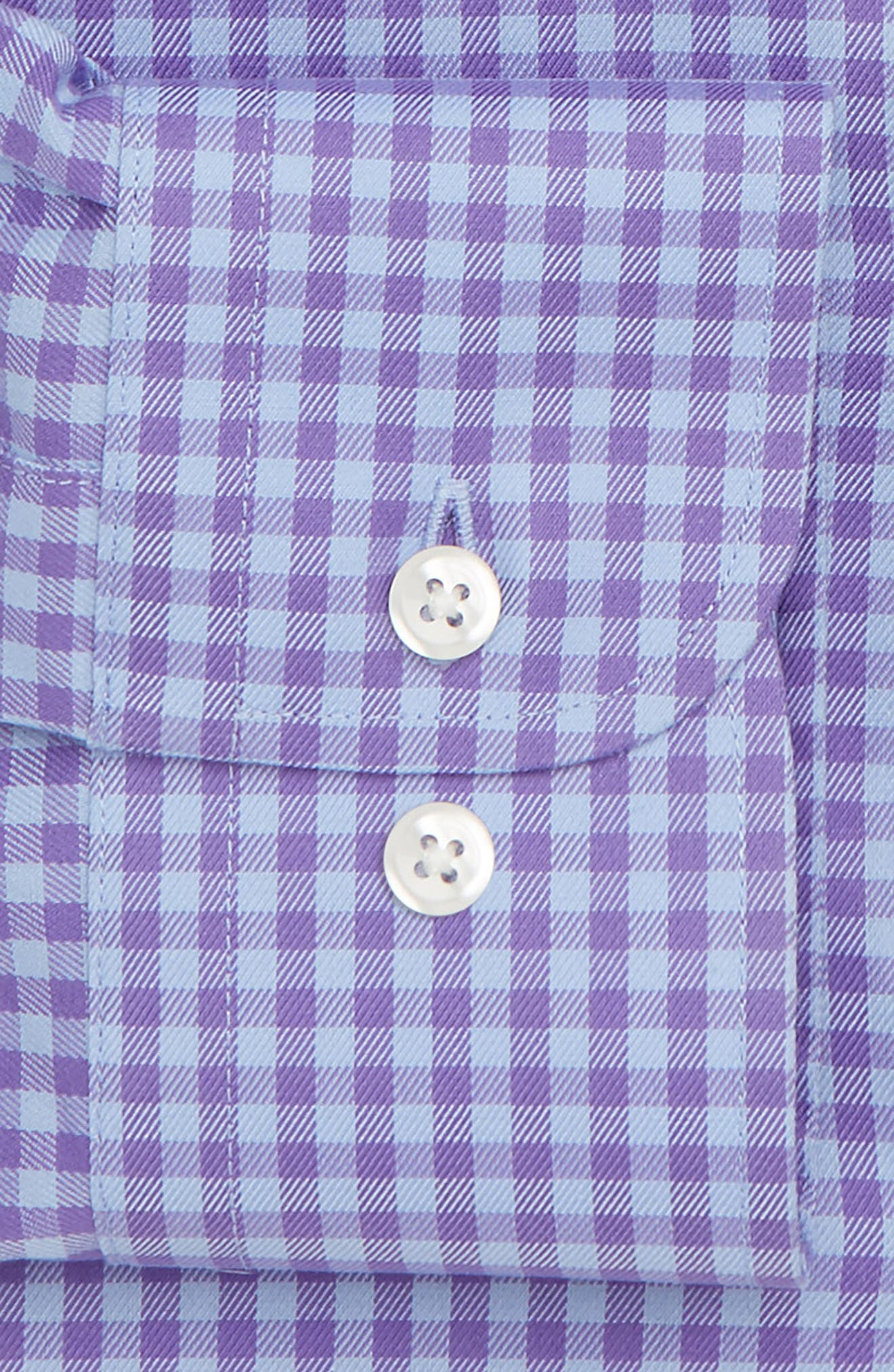 Trim Fit Non-Iron Gingham Dress Shirt,                             Alternate thumbnail 5, color,                             Purple Ultra