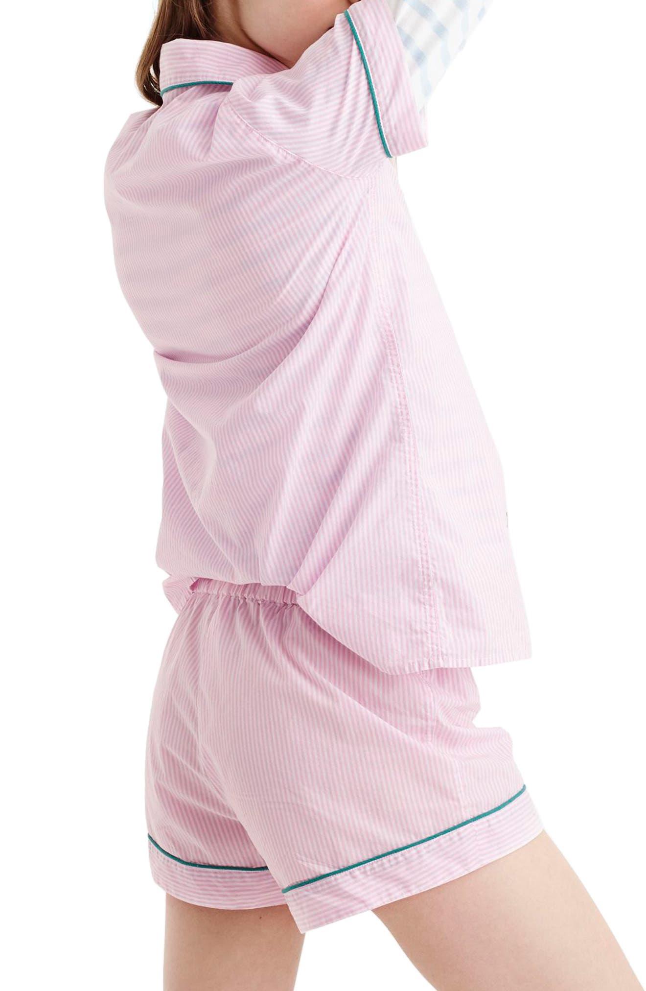 Tipped Short Pajamas,                             Alternate thumbnail 2, color,                             White Hibiscus
