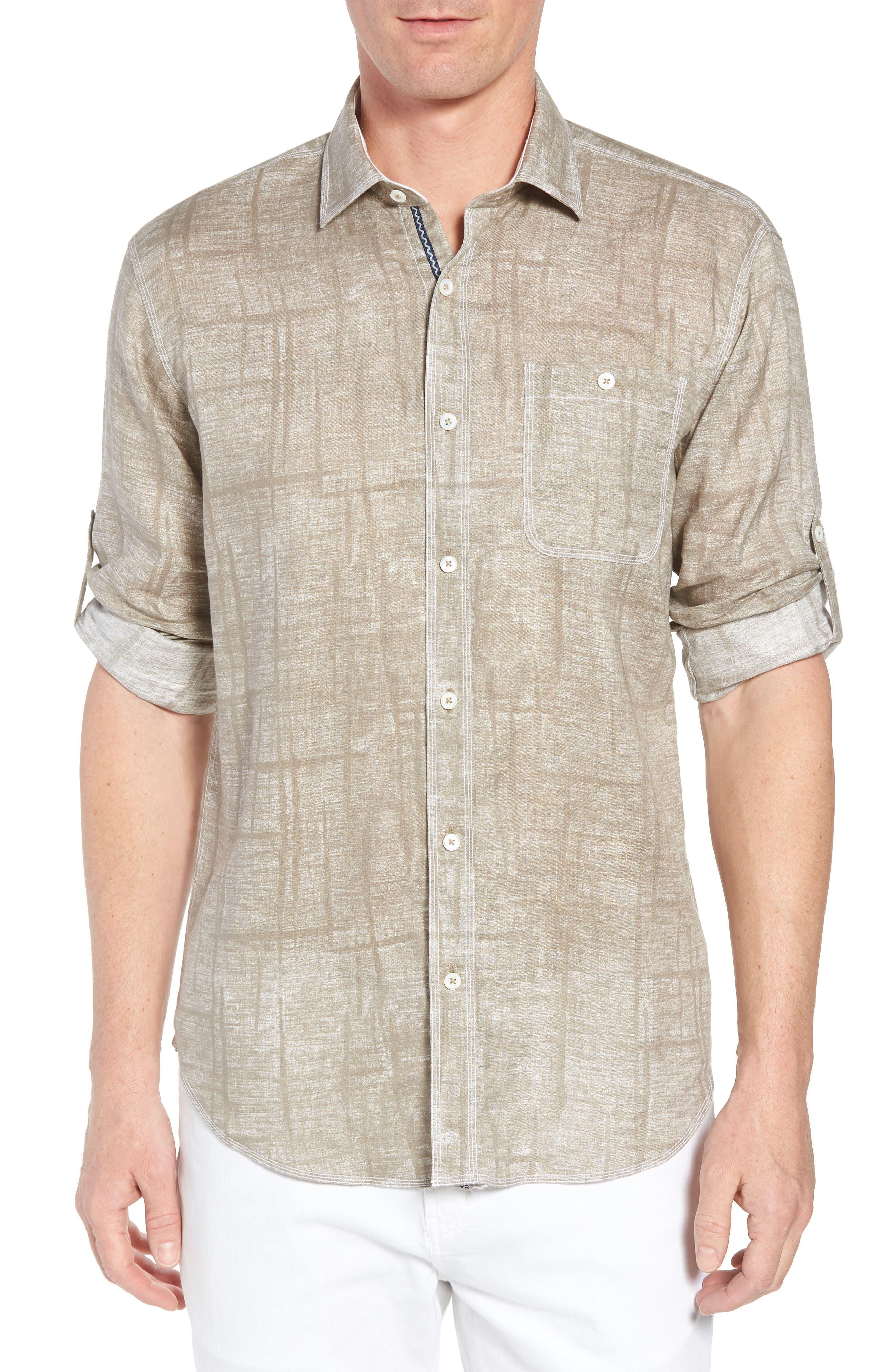 Shaped Fit Linen Sport Shirt,                             Main thumbnail 1, color,                             Sand