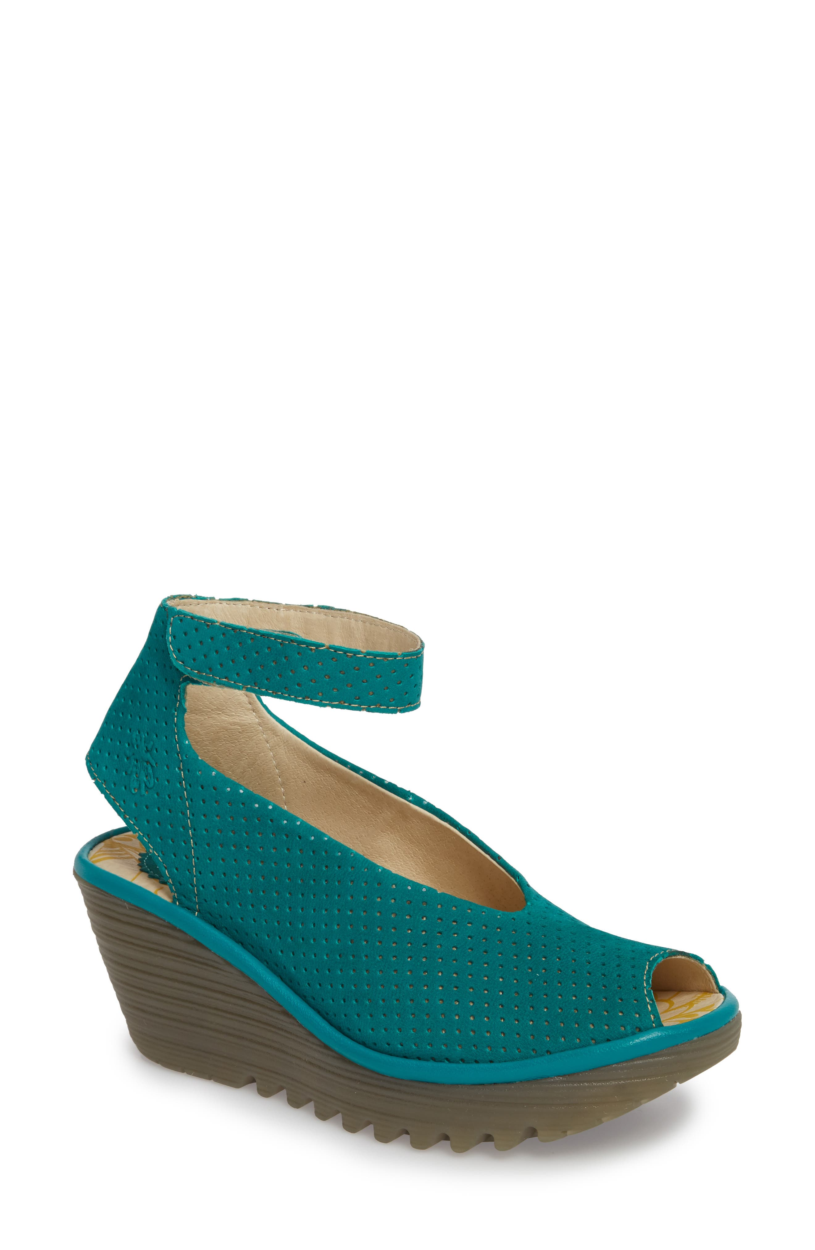 'Yala' Perforated Leather Sandal,                             Main thumbnail 1, color,                             Green Leather
