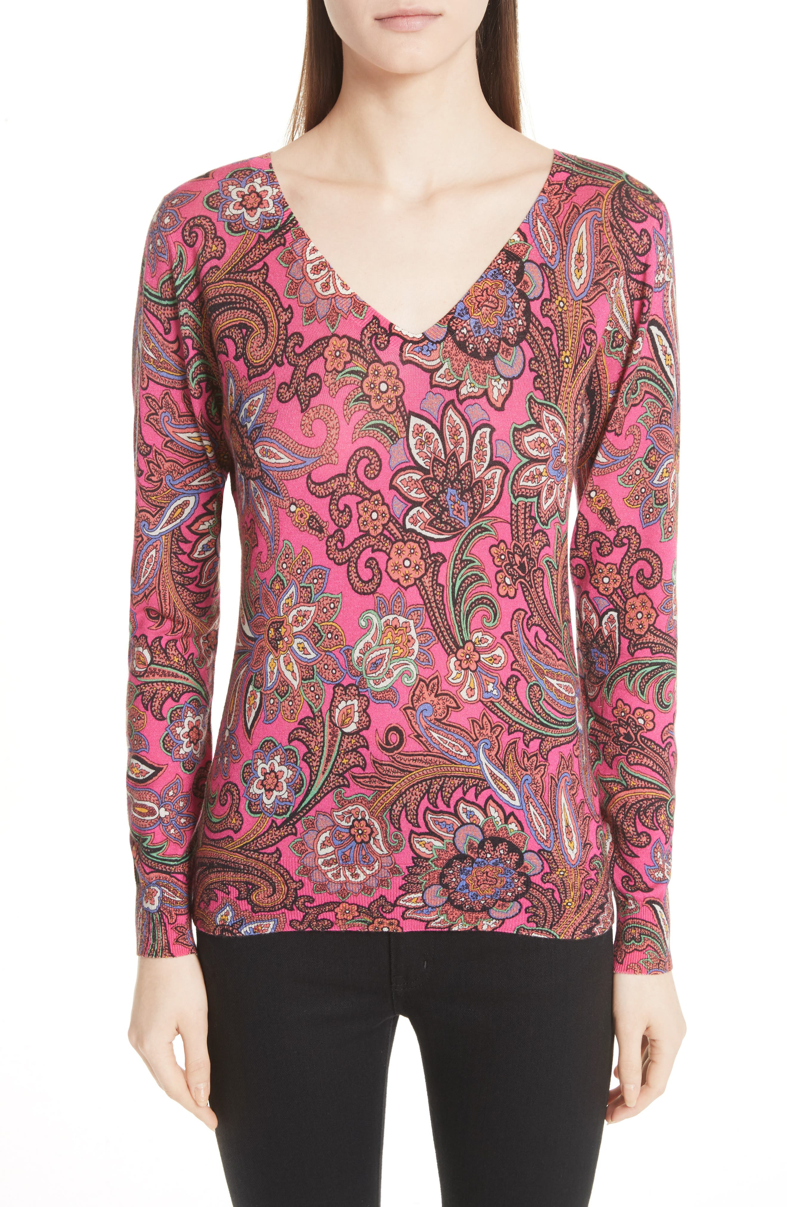 Etro Paisley Silk & Cashmere Sweater
