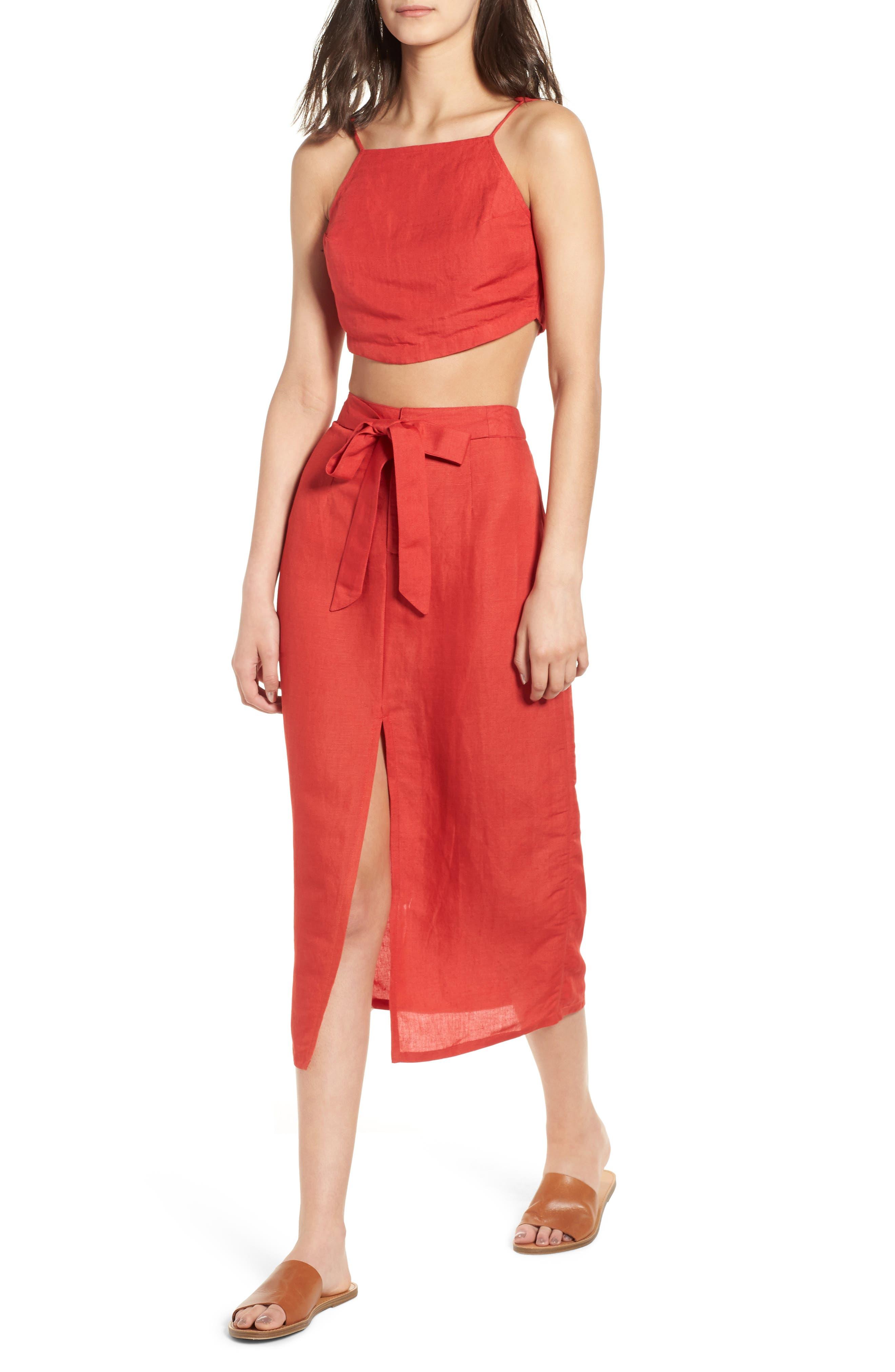 Linen Blend Midi Skirt,                             Alternate thumbnail 6, color,                             Red