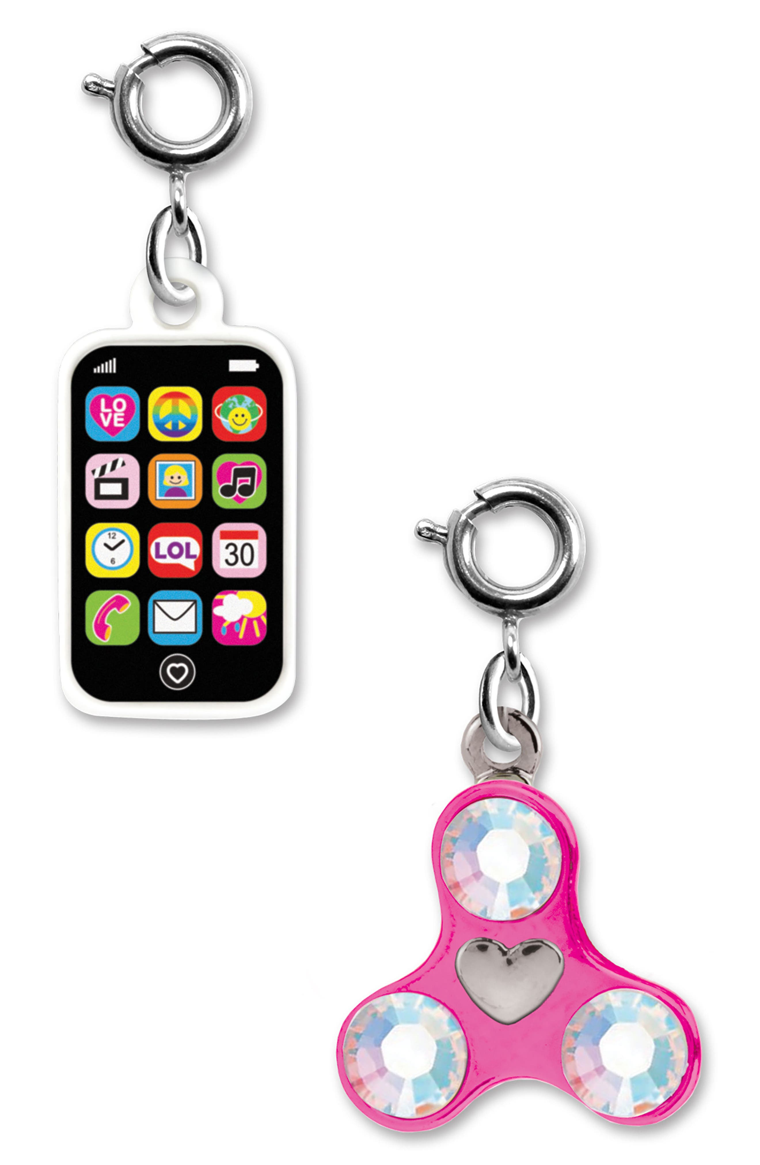 CHARM IT!<sup>®</sup> 2-Pack Phone & Spinner Charms,                             Main thumbnail 1, color,                             Multi