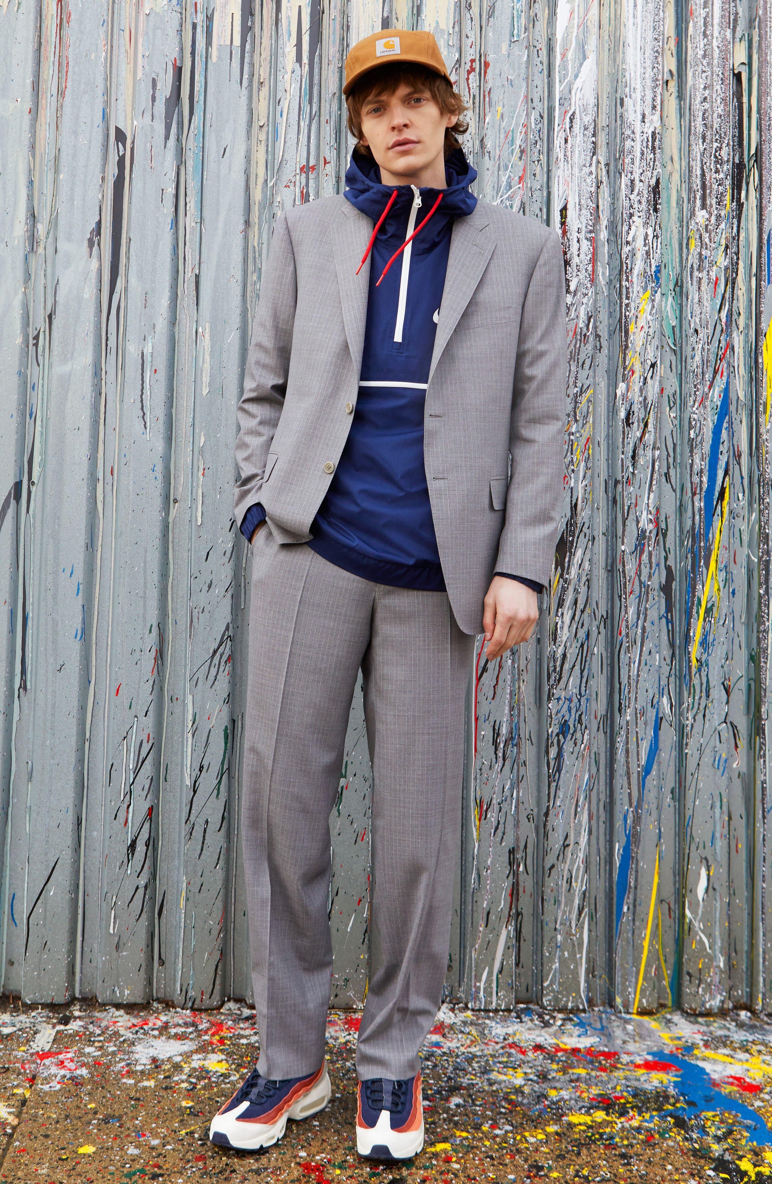 Classic Fit Stripe Wool Suit,                             Alternate thumbnail 2, color,                             Grey