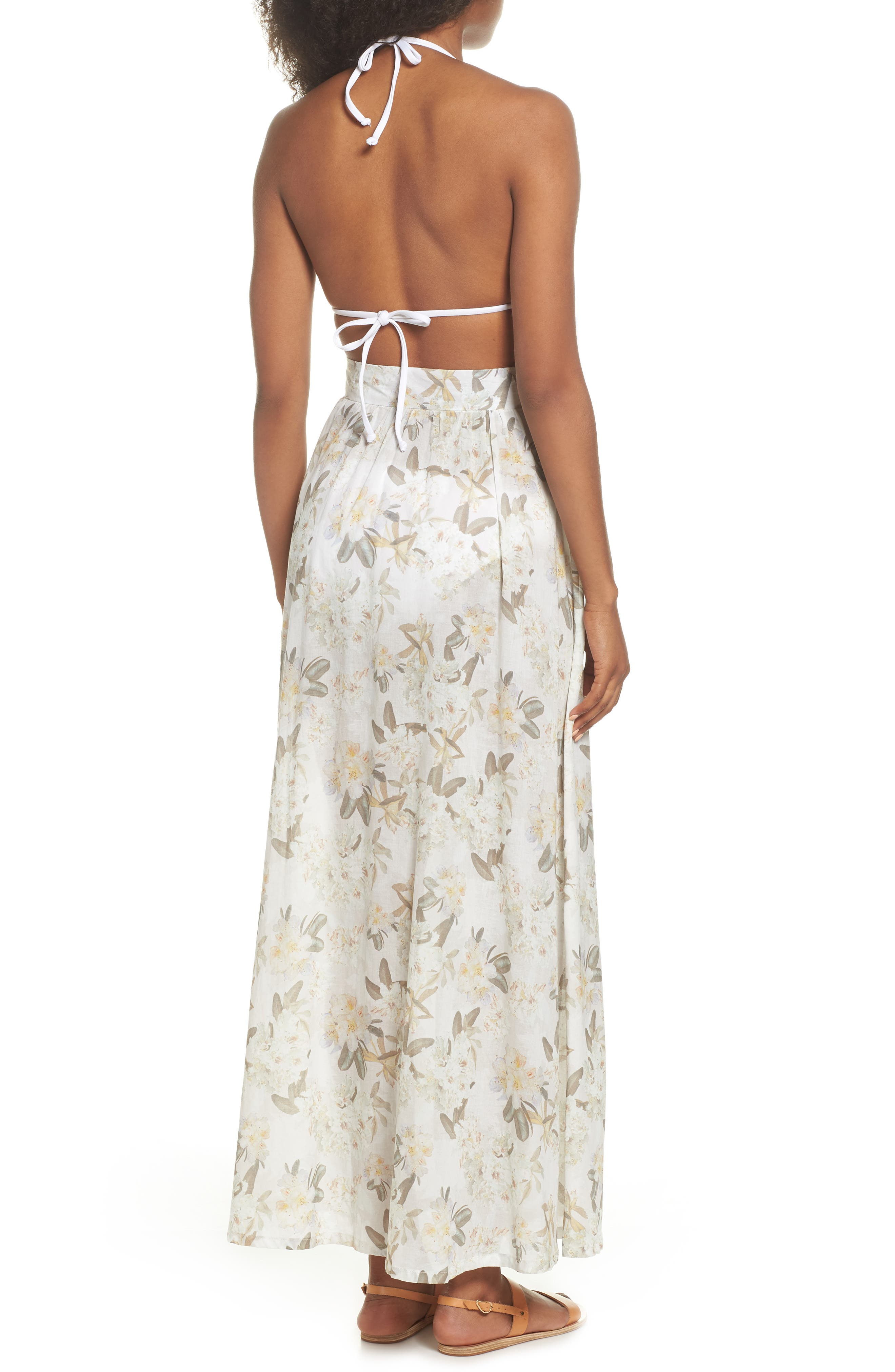 Edith Cover-Up Maxi Skirt,                             Alternate thumbnail 2, color,                             Ete Floral White