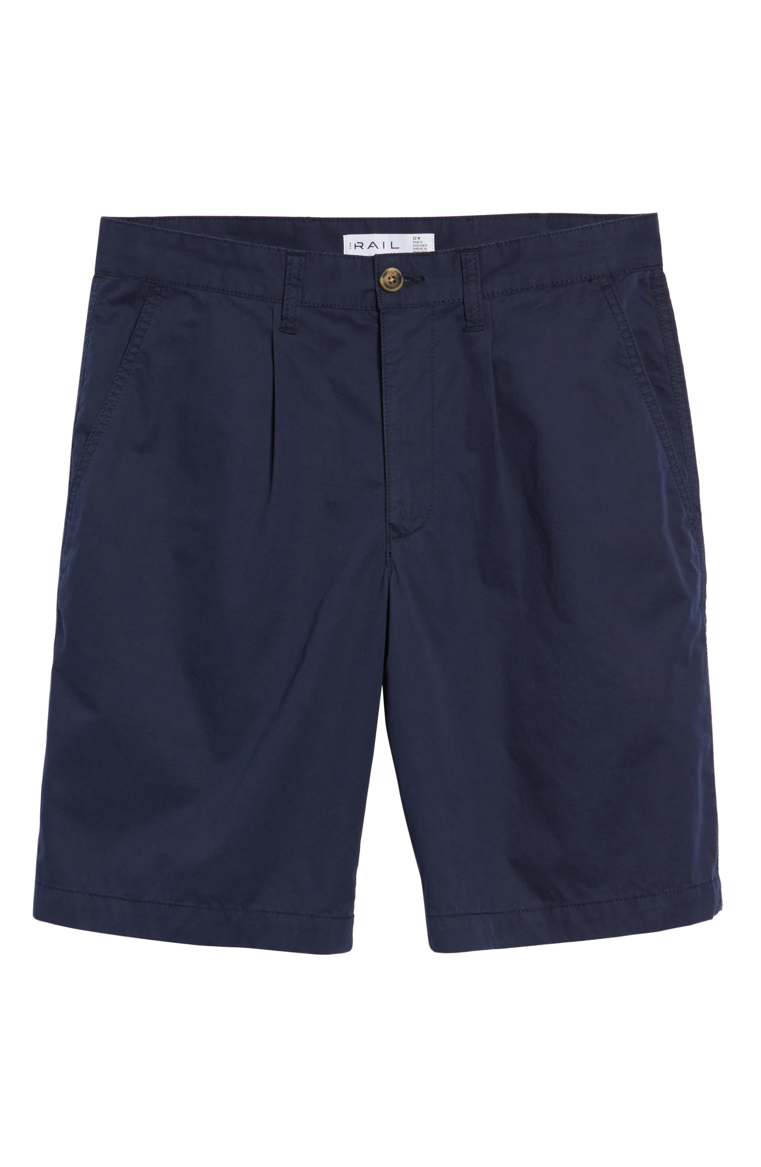 Pleated Chino Shorts,                             Alternate thumbnail 6, color,                             Navy Peacoat