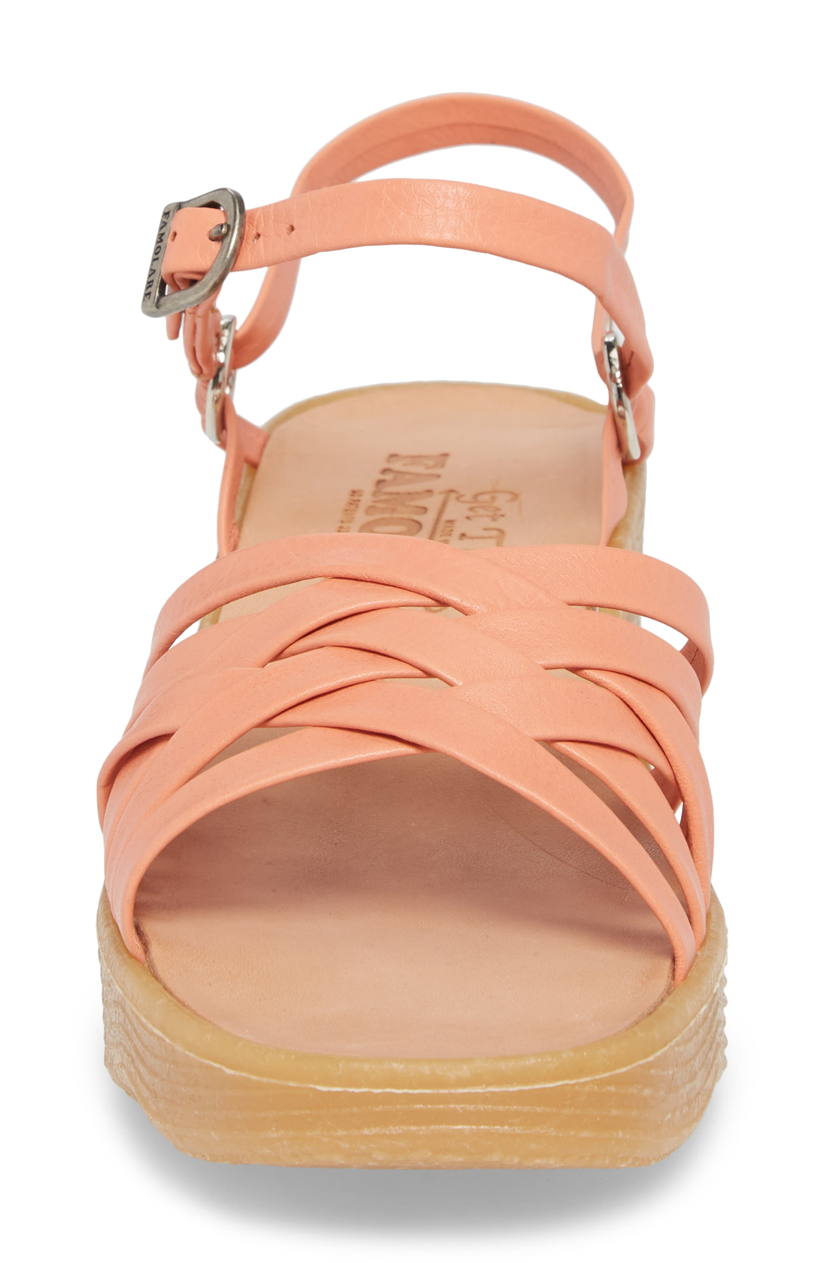 Strappy Camper Sandal,                             Alternate thumbnail 4, color,                             Salmon Leather