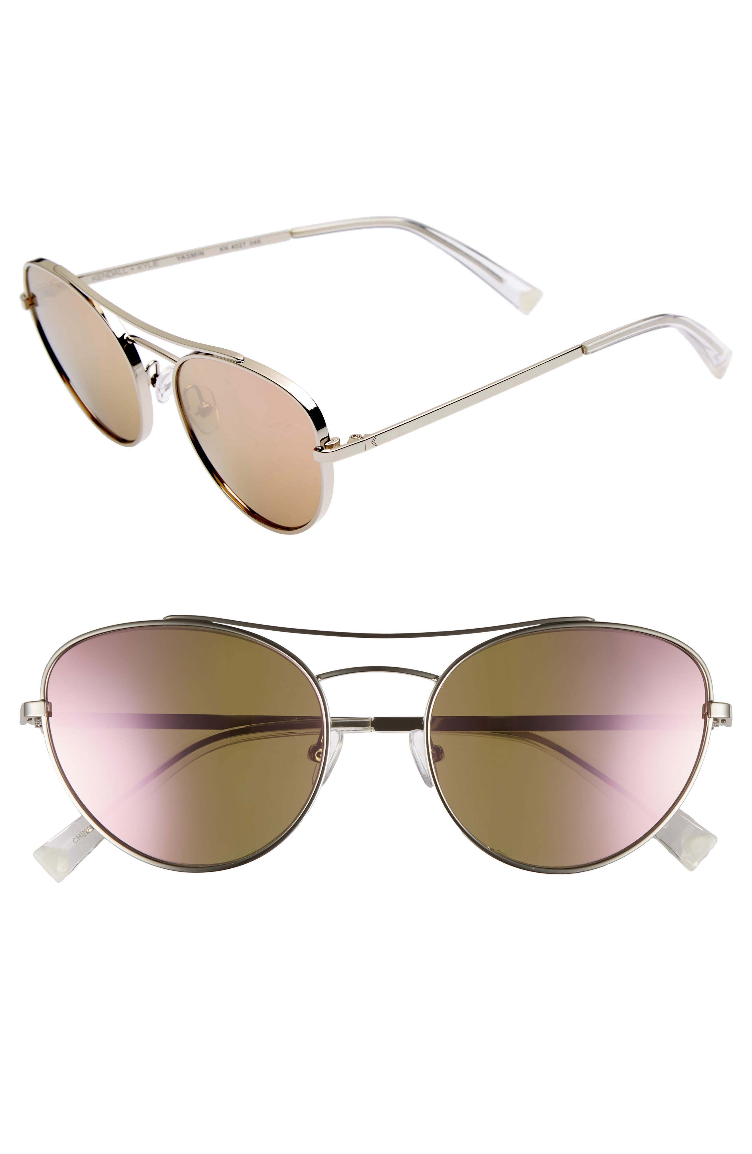 Yasmin 55mm Aviator Sunglasses,                             Main thumbnail 1, color,                             Silver/ Rose Gold Mirror