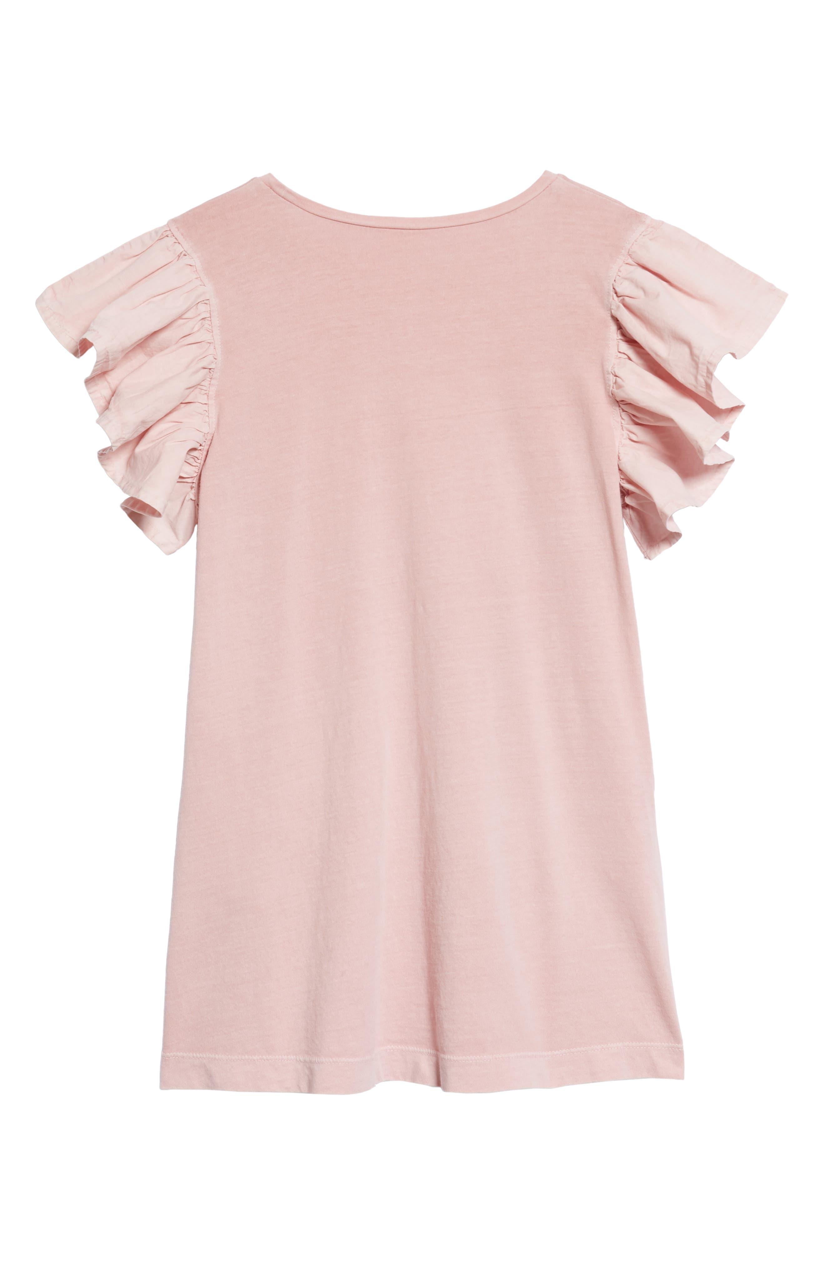 Alternate Image 2  - Stem Ruffle Sleeve Dress (Toddler Girls, Little Girls & Big Girls)