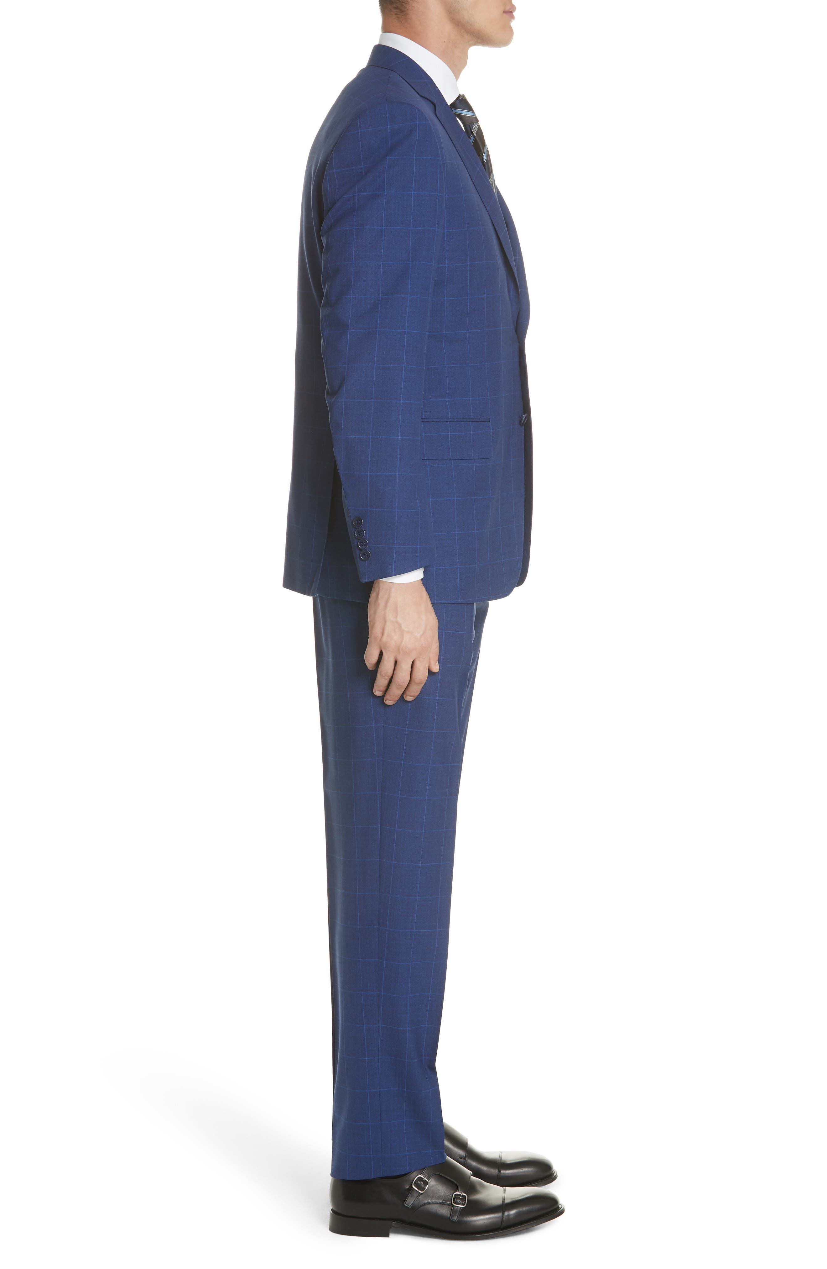 Classic Fit Windowpane Wool Suit,                             Alternate thumbnail 3, color,                             Blue