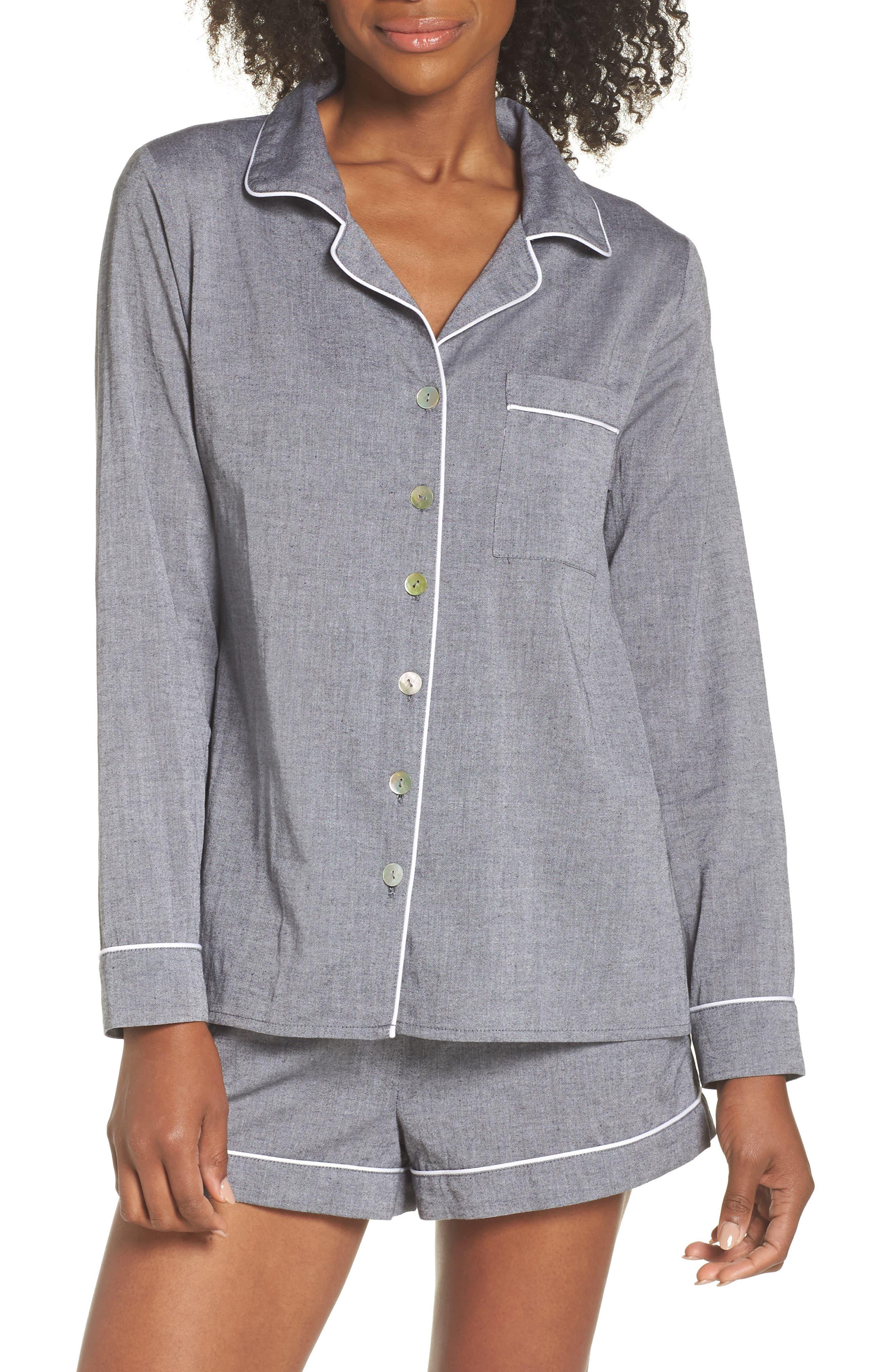Short Pajamas,                             Main thumbnail 1, color,                             Charcoal