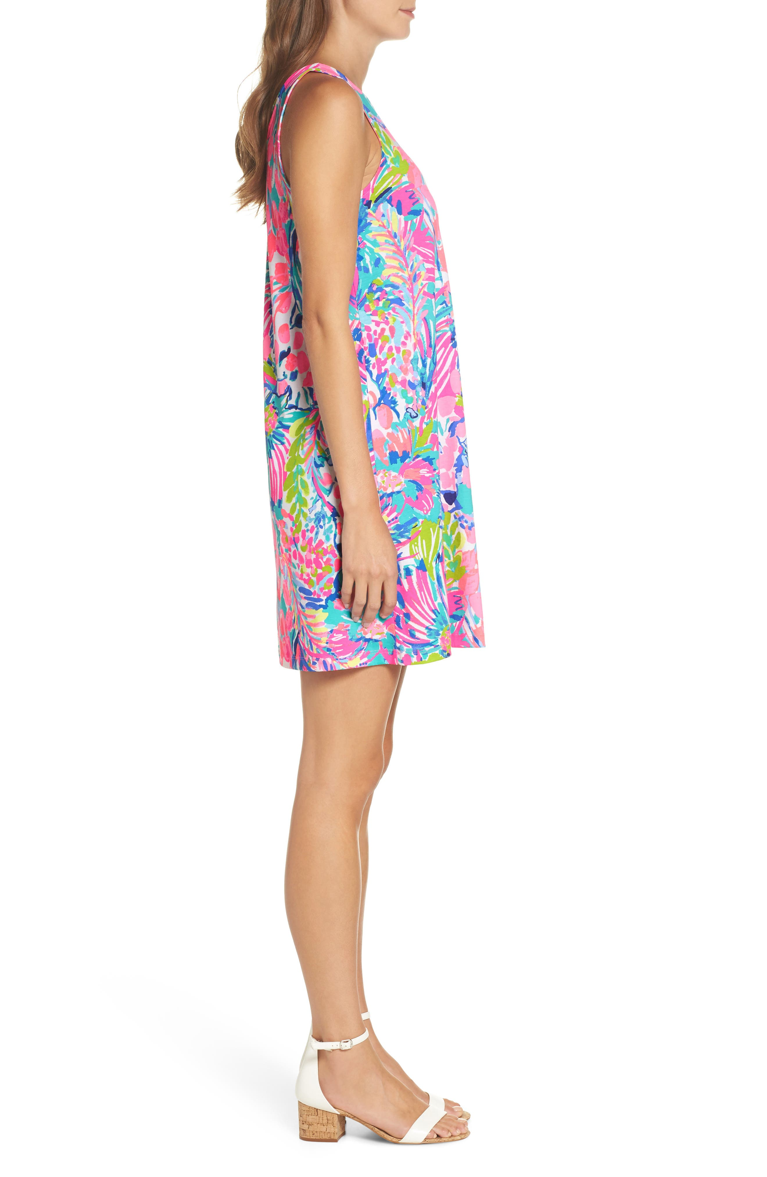 Kristen Trapeze Dress,                             Alternate thumbnail 3, color,                             Multi Gumbo Limbo
