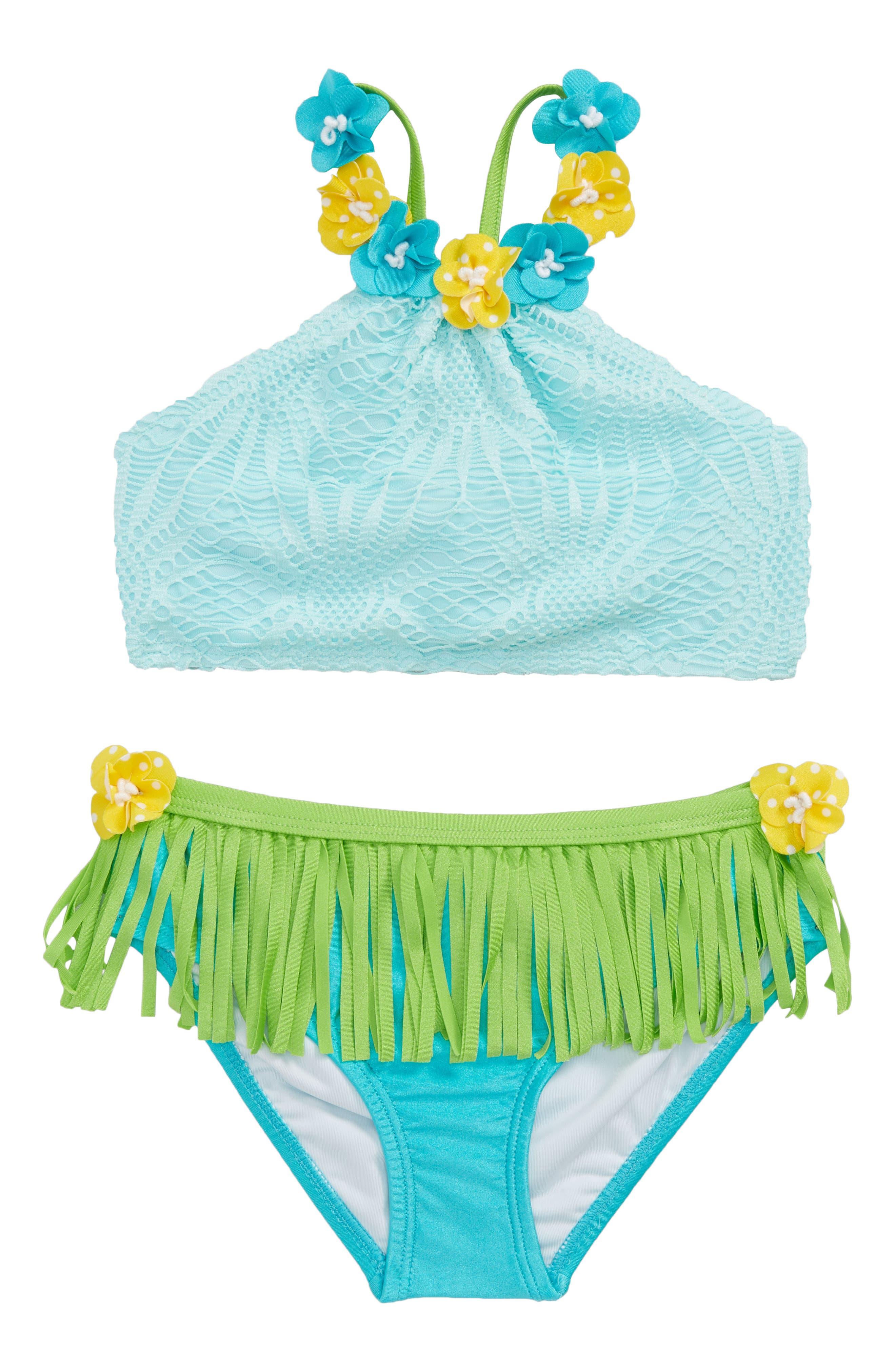Hula Two-Piece Bikini Swimsuit,                         Main,                         color, Aqua