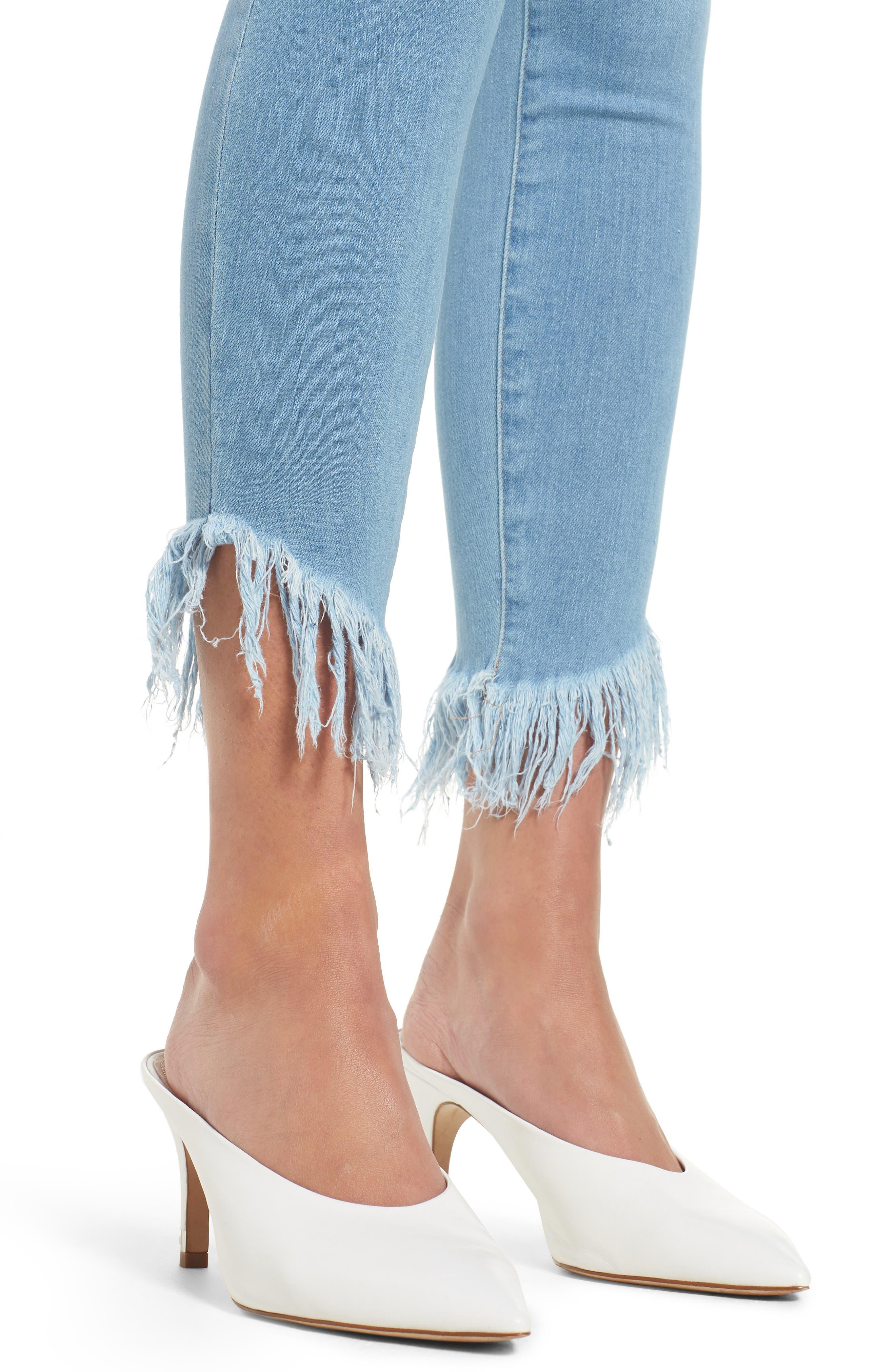 Le High Shredded Hem Skinny Jeans,                             Alternate thumbnail 4, color,                             Eling
