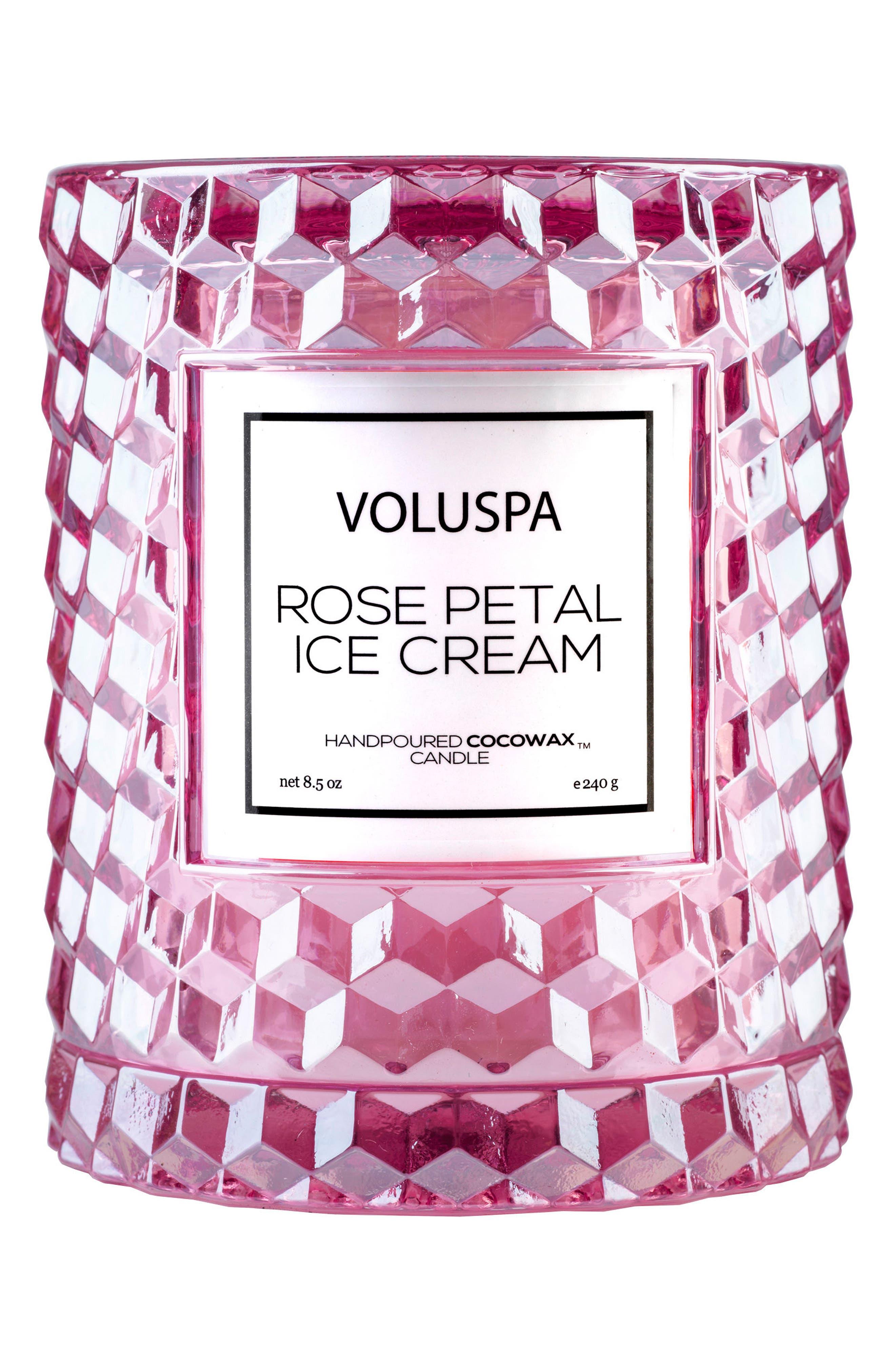 Voluspa Rose Cloche Cover Glass Candle