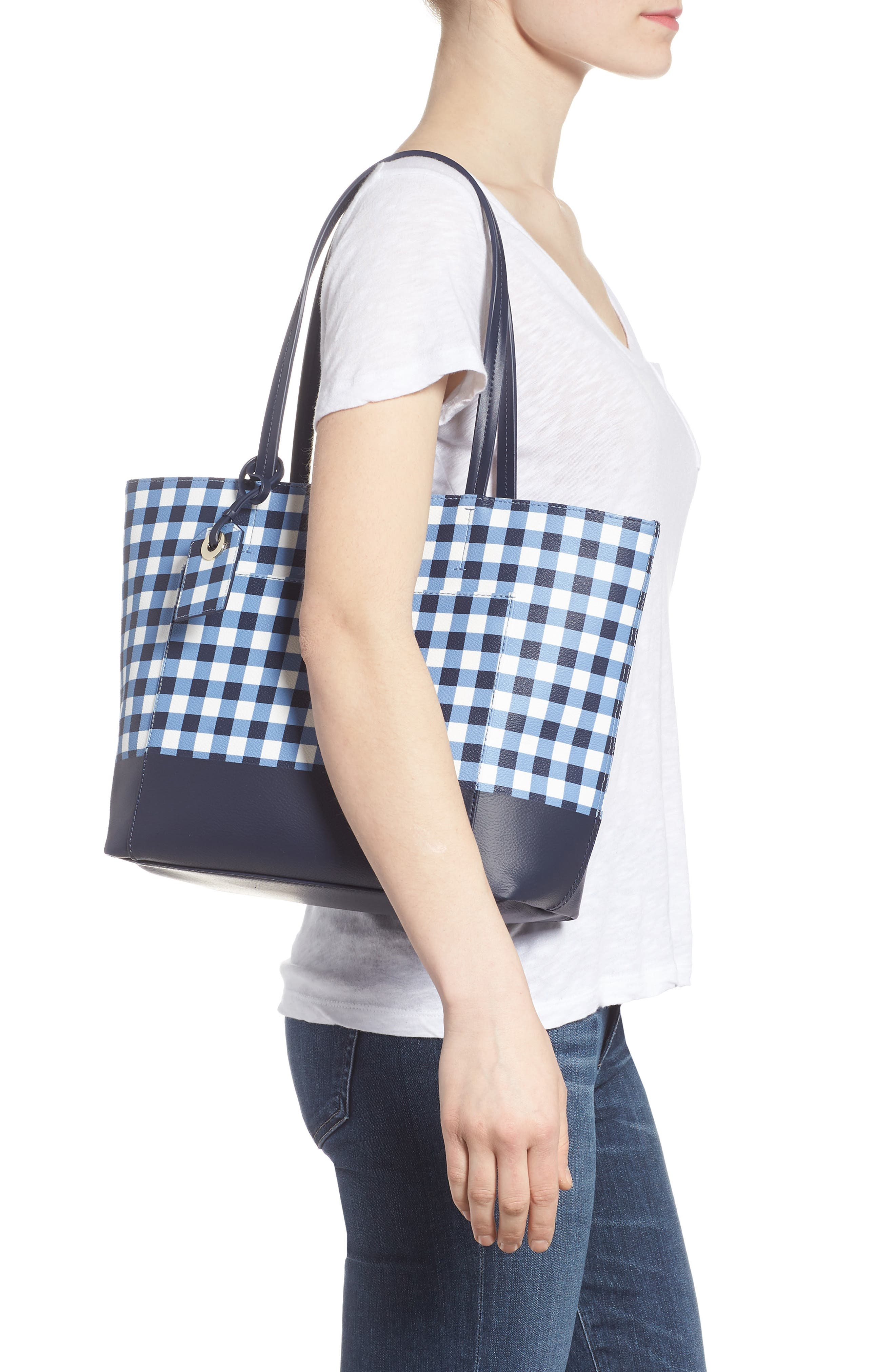 hyde lane gingham - small riley tote,                             Alternate thumbnail 2, color,                             Navy/ White
