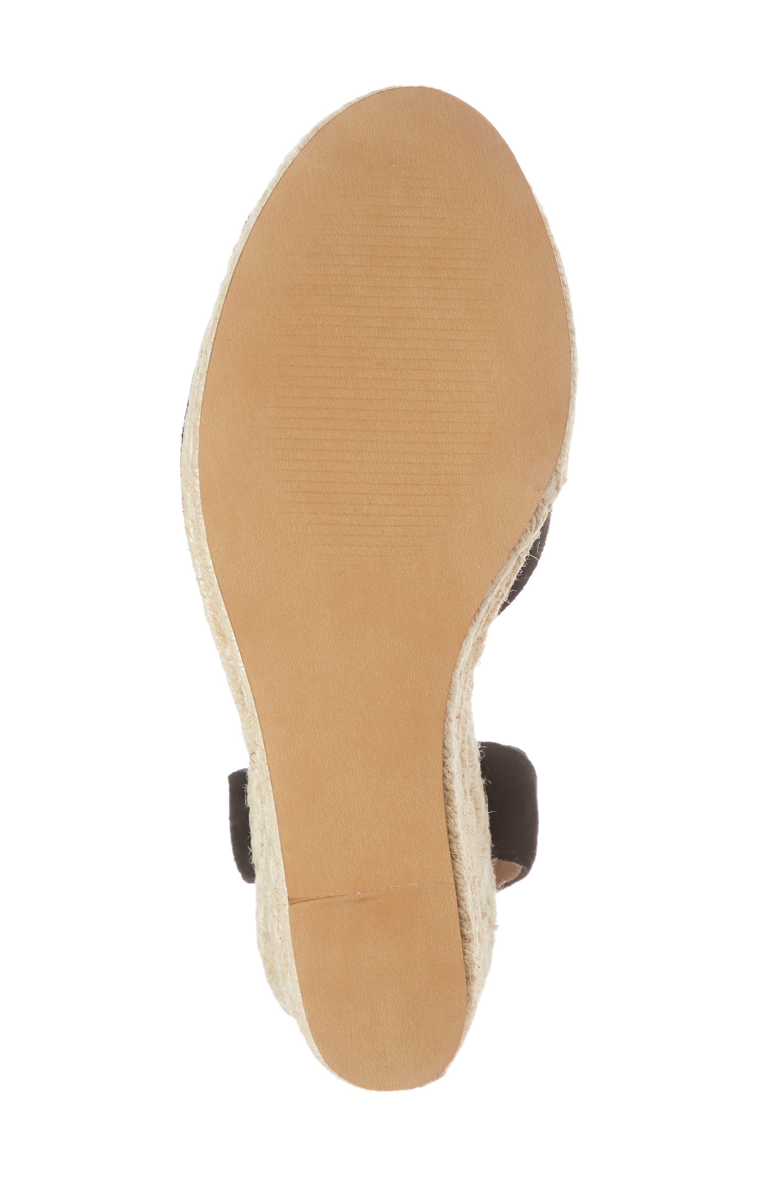 Secret Wedge Wraparound Sandal,                             Alternate thumbnail 6, color,                             Black Suede