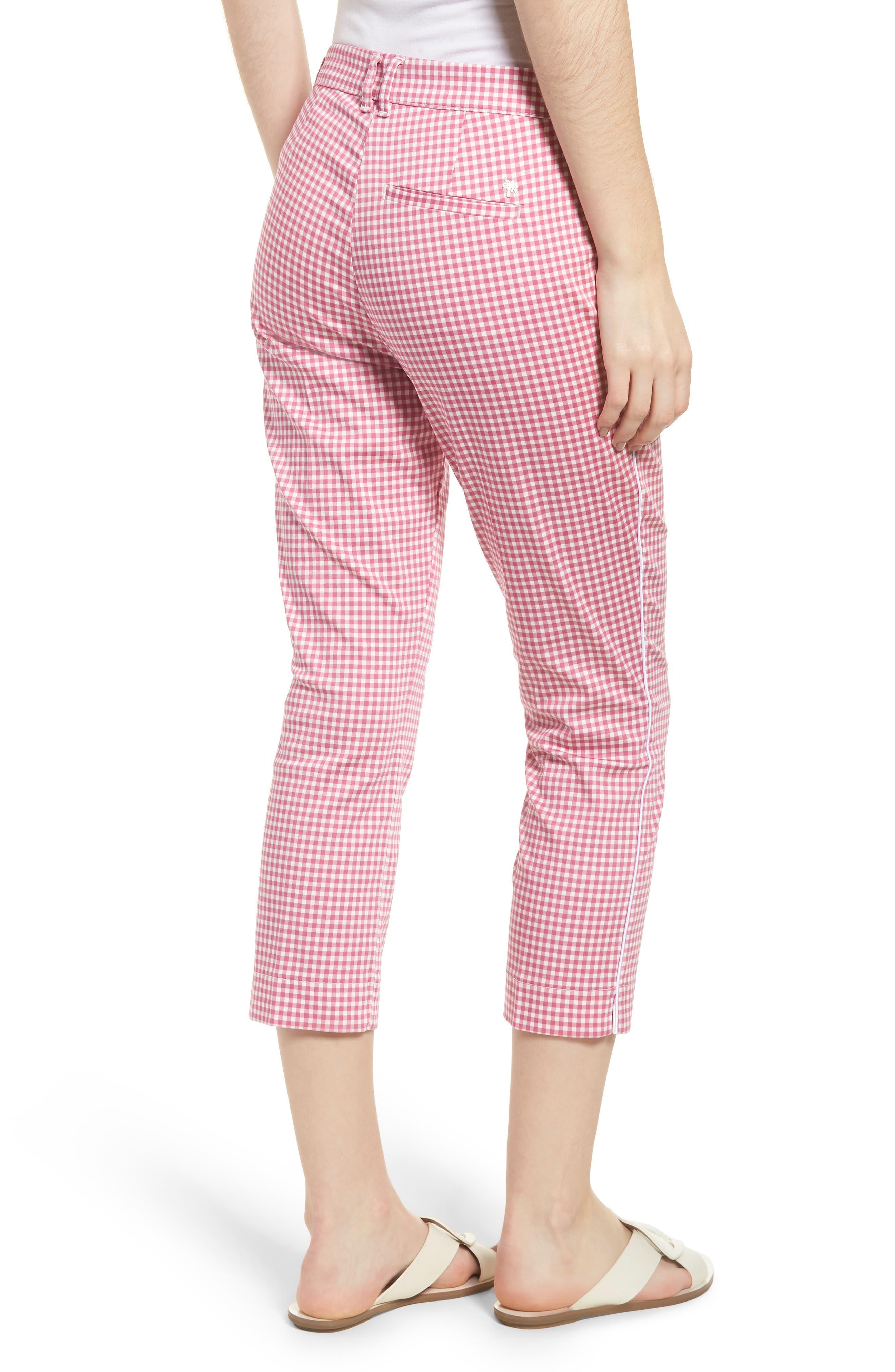 Maron Gingham Stretch Cotton Pants,                             Alternate thumbnail 2, color,                             Pink