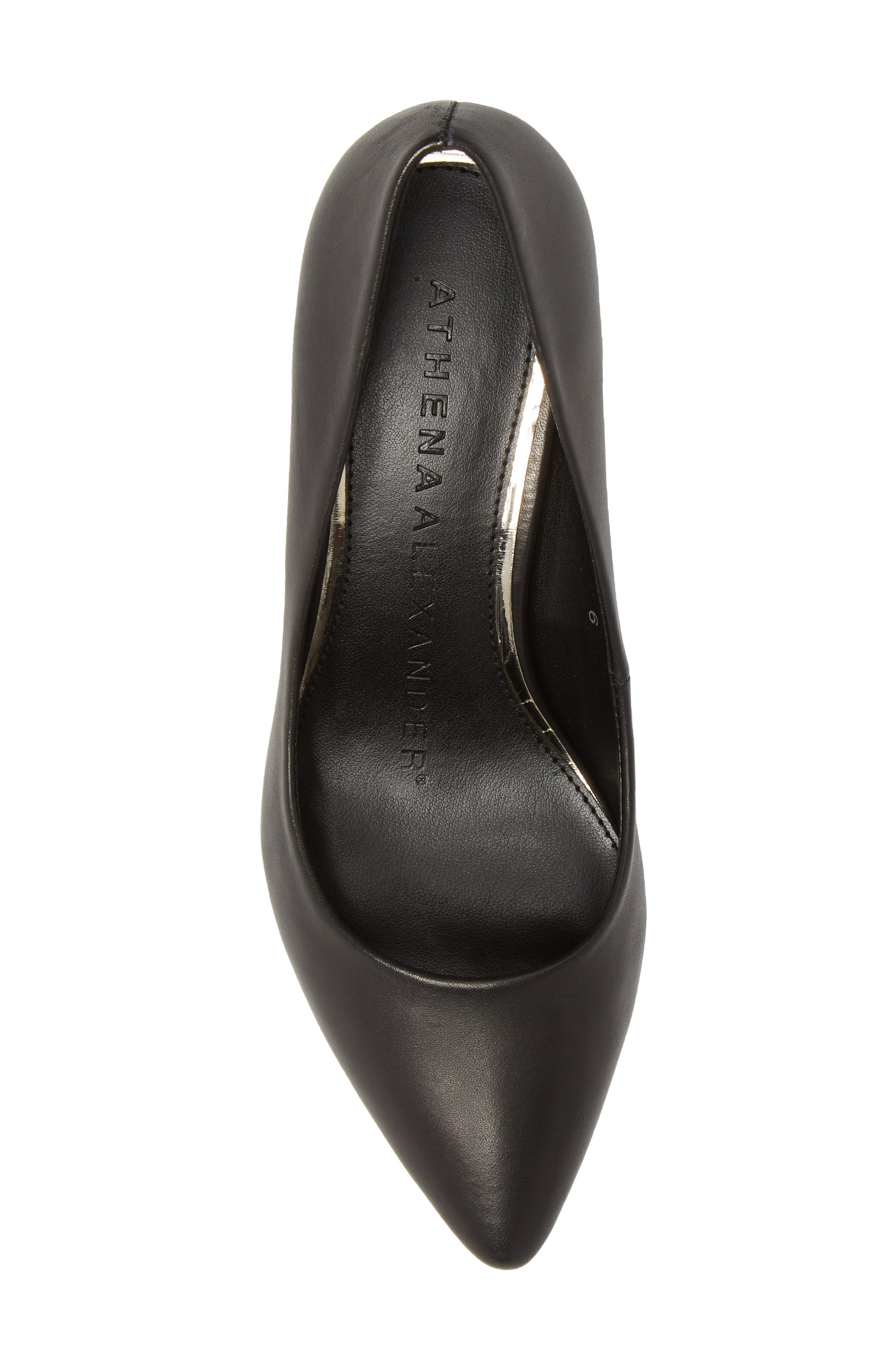 Haven Block Heel Pump,                             Alternate thumbnail 5, color,                             Black Leather