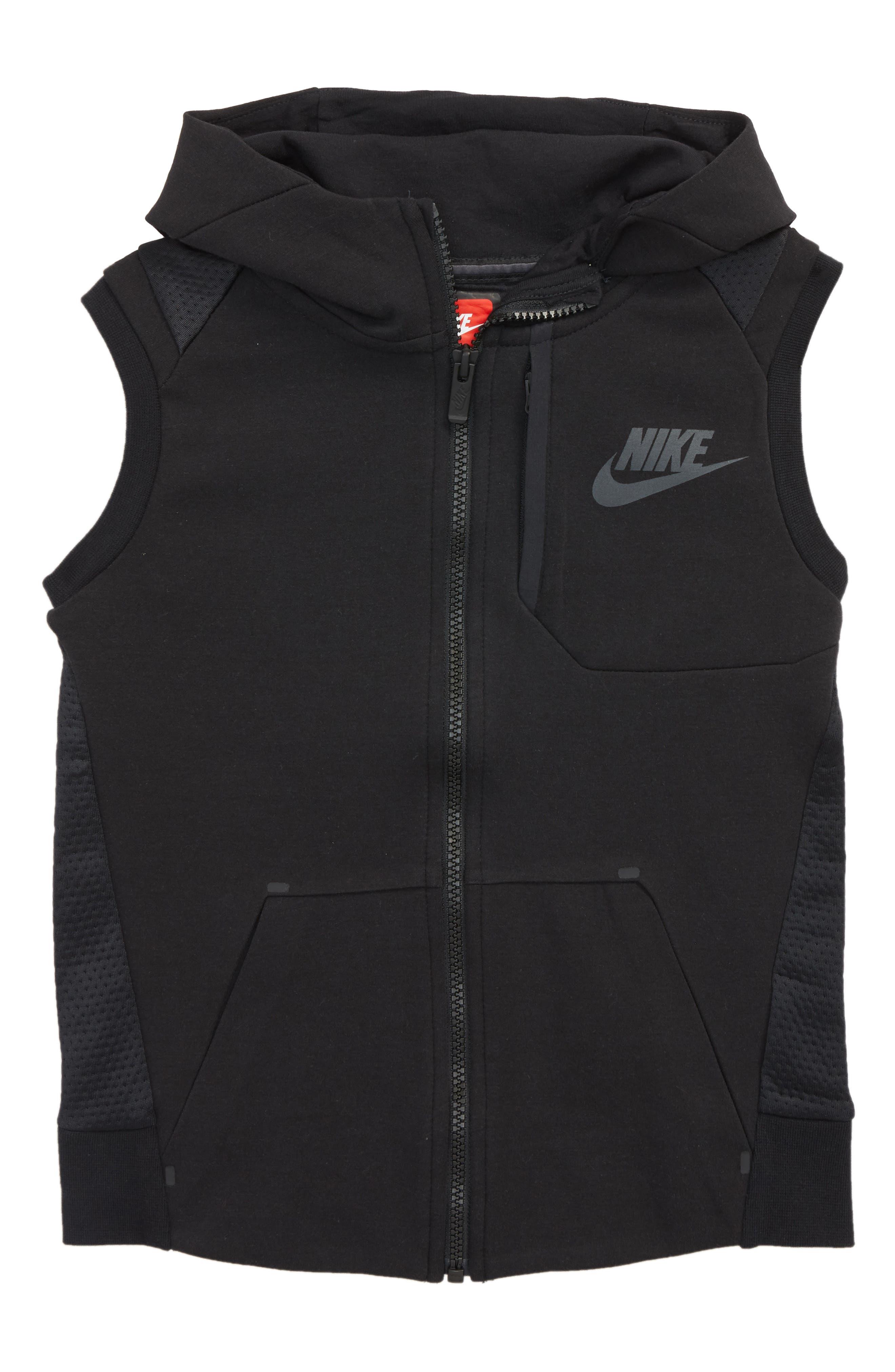 Tech Fleece Hooded Vest,                             Main thumbnail 1, color,                             Black