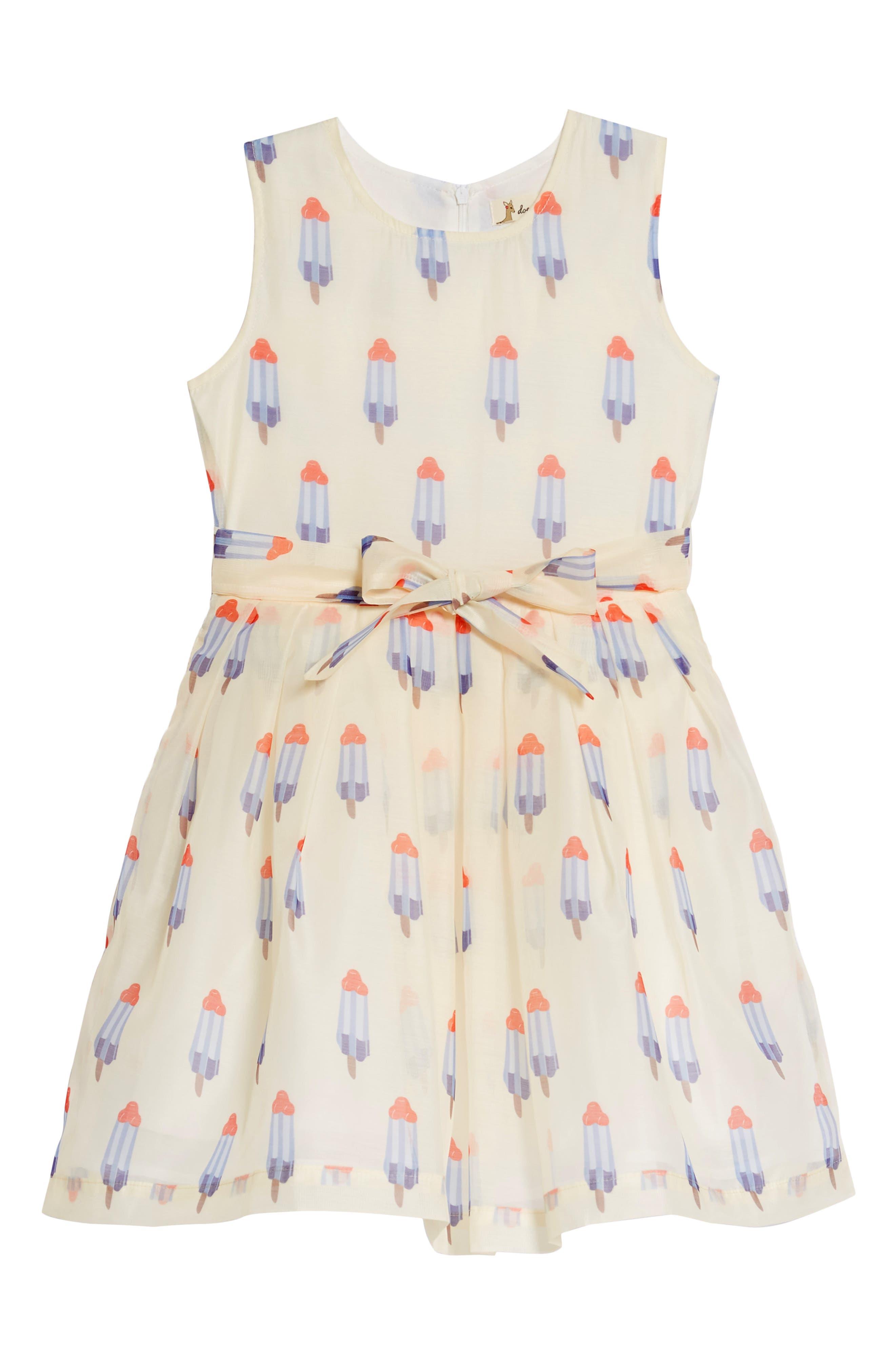 Popsicle Print Fit & Flare Dress,                             Main thumbnail 1, color,                             Tan Multi
