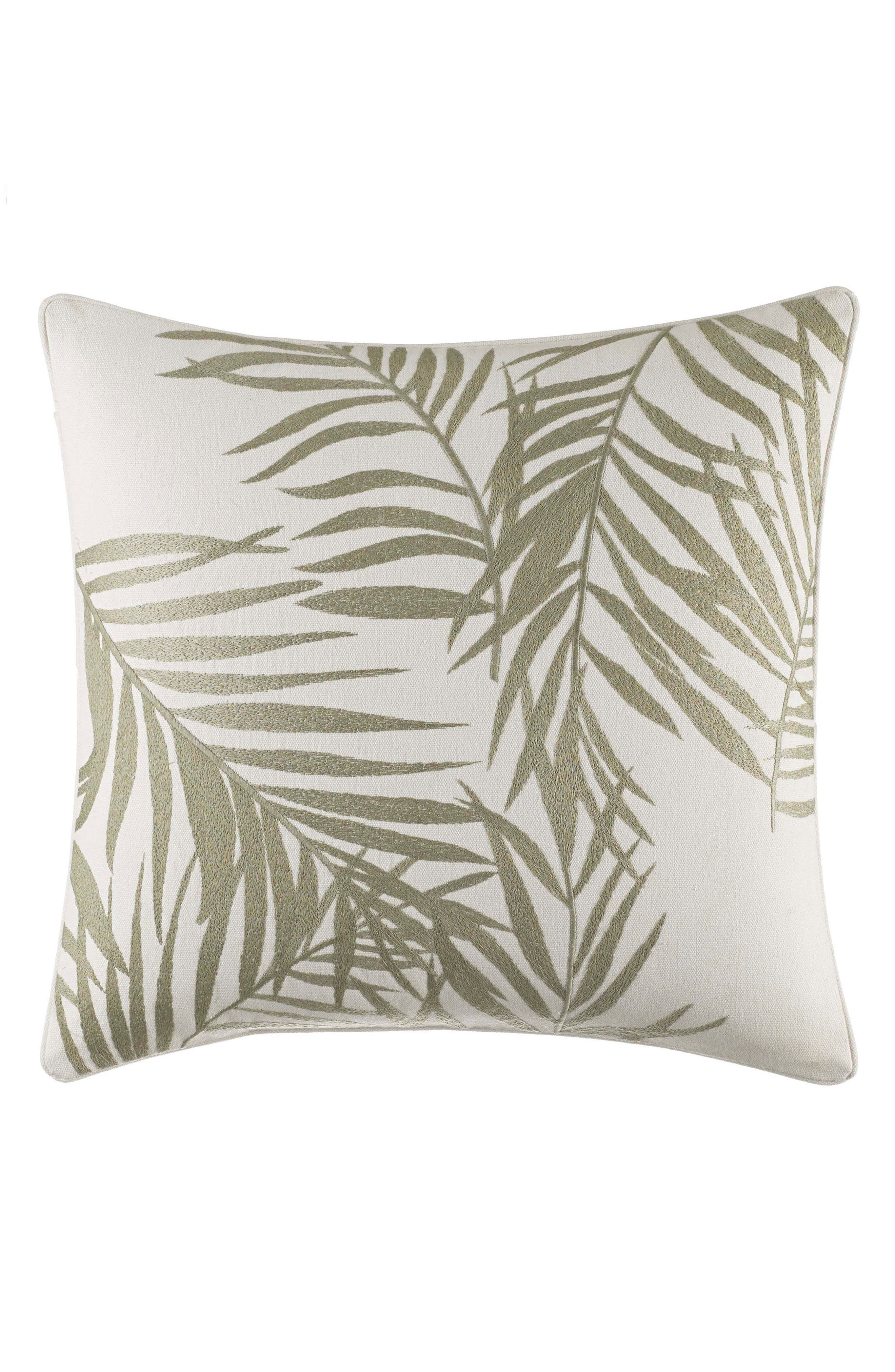 Palms Away Embroidered Accent Pillow,                             Main thumbnail 1, color,                             Light Beige