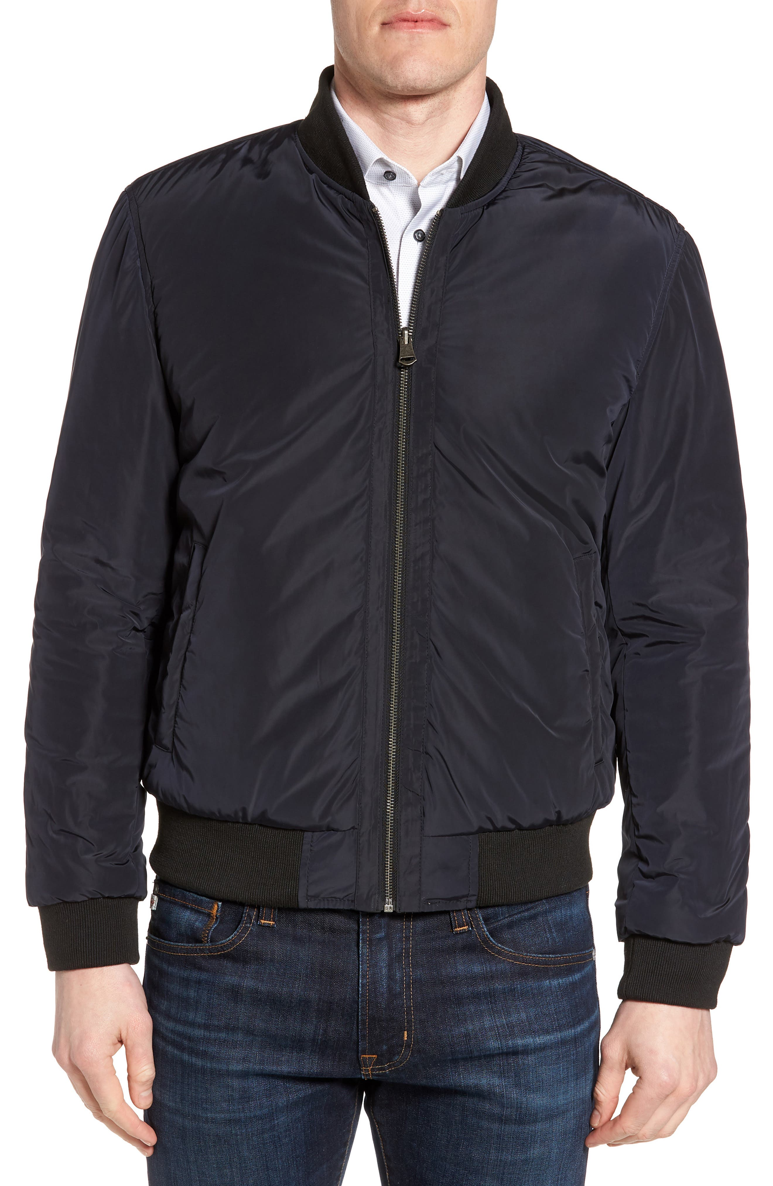 Reversible Leather Jacket,                             Alternate thumbnail 2, color,                             Black/ Navy