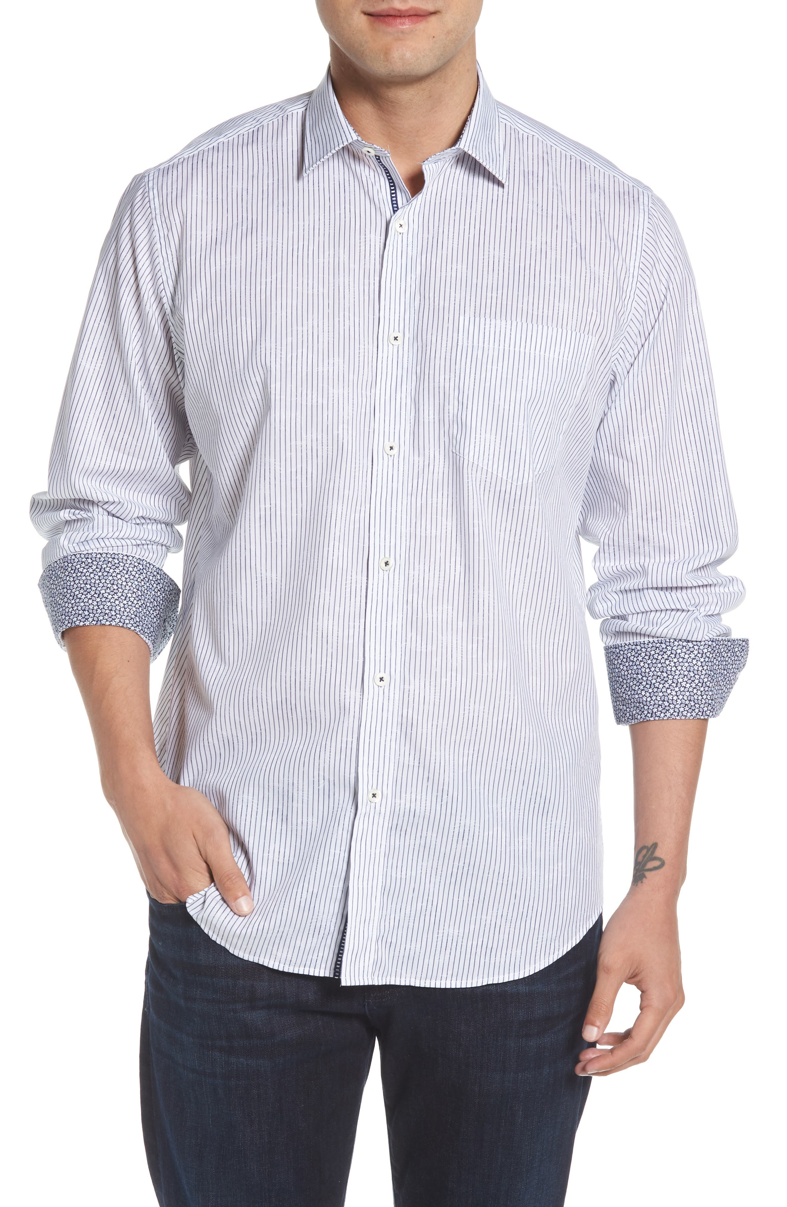 Classic Fit Stripe Jacquard Sport Shirt,                             Main thumbnail 1, color,                             Navy