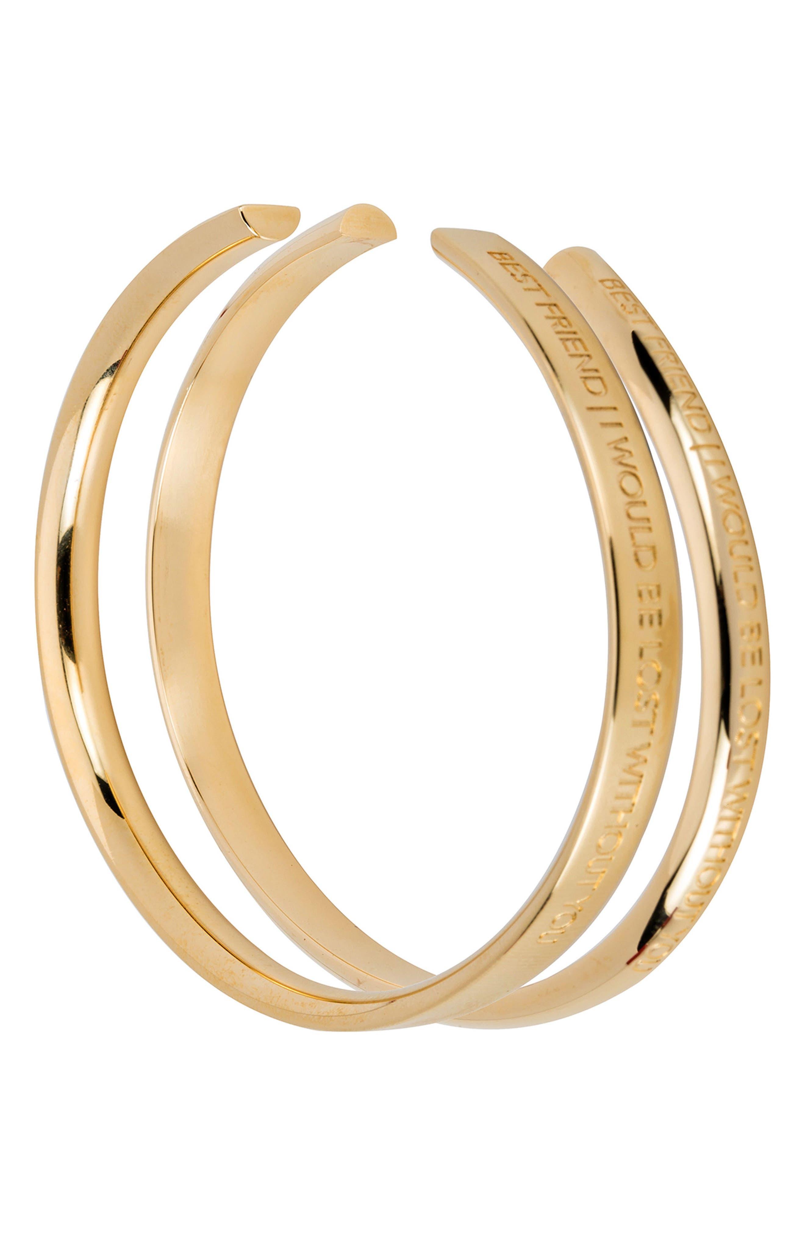 Best Friends Set of 2 Wrist Cuffs,                         Main,                         color, Gold