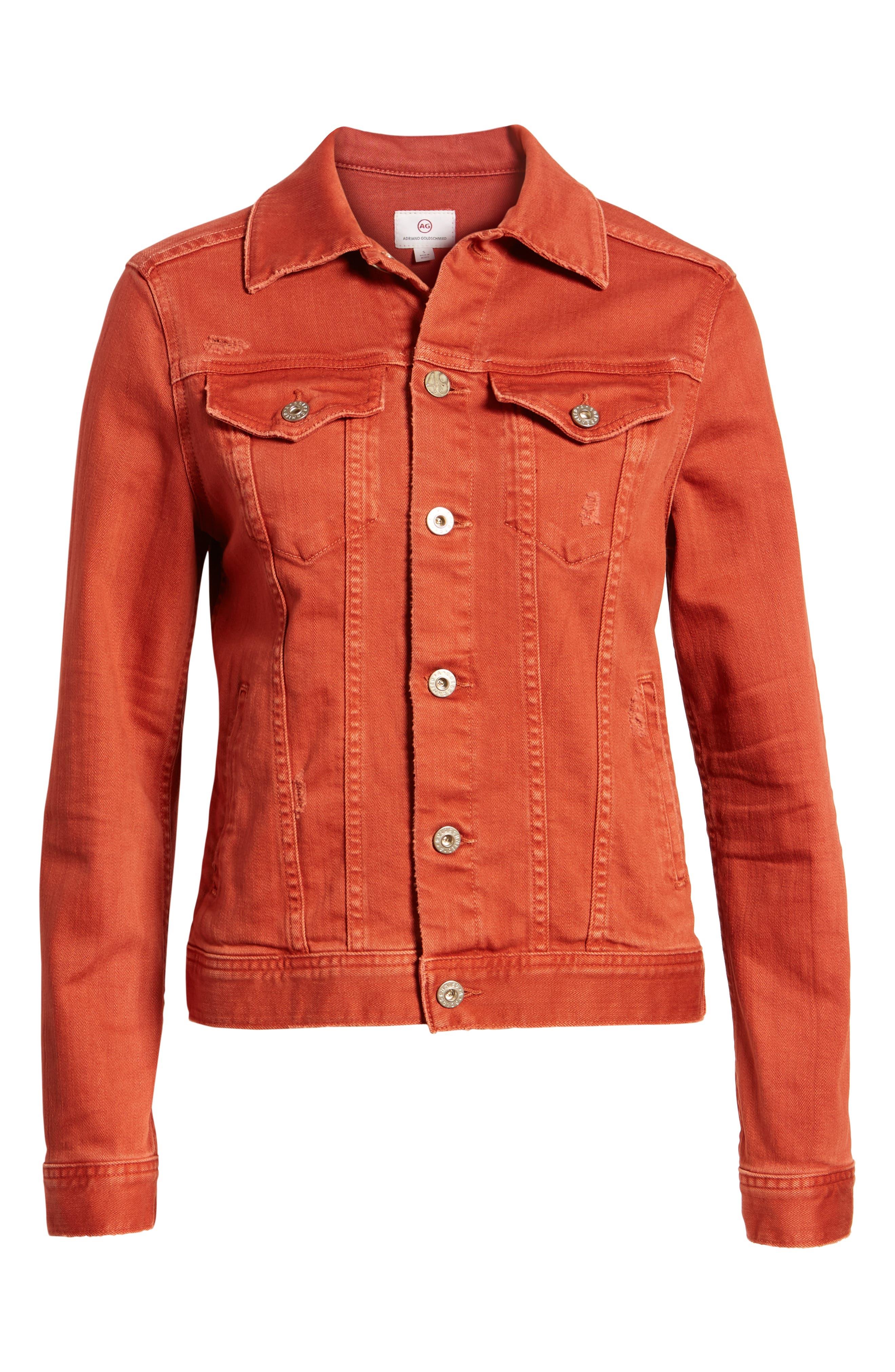Mya Denim Jacket,                             Alternate thumbnail 7, color,                             10 Years Remedy Firebrick