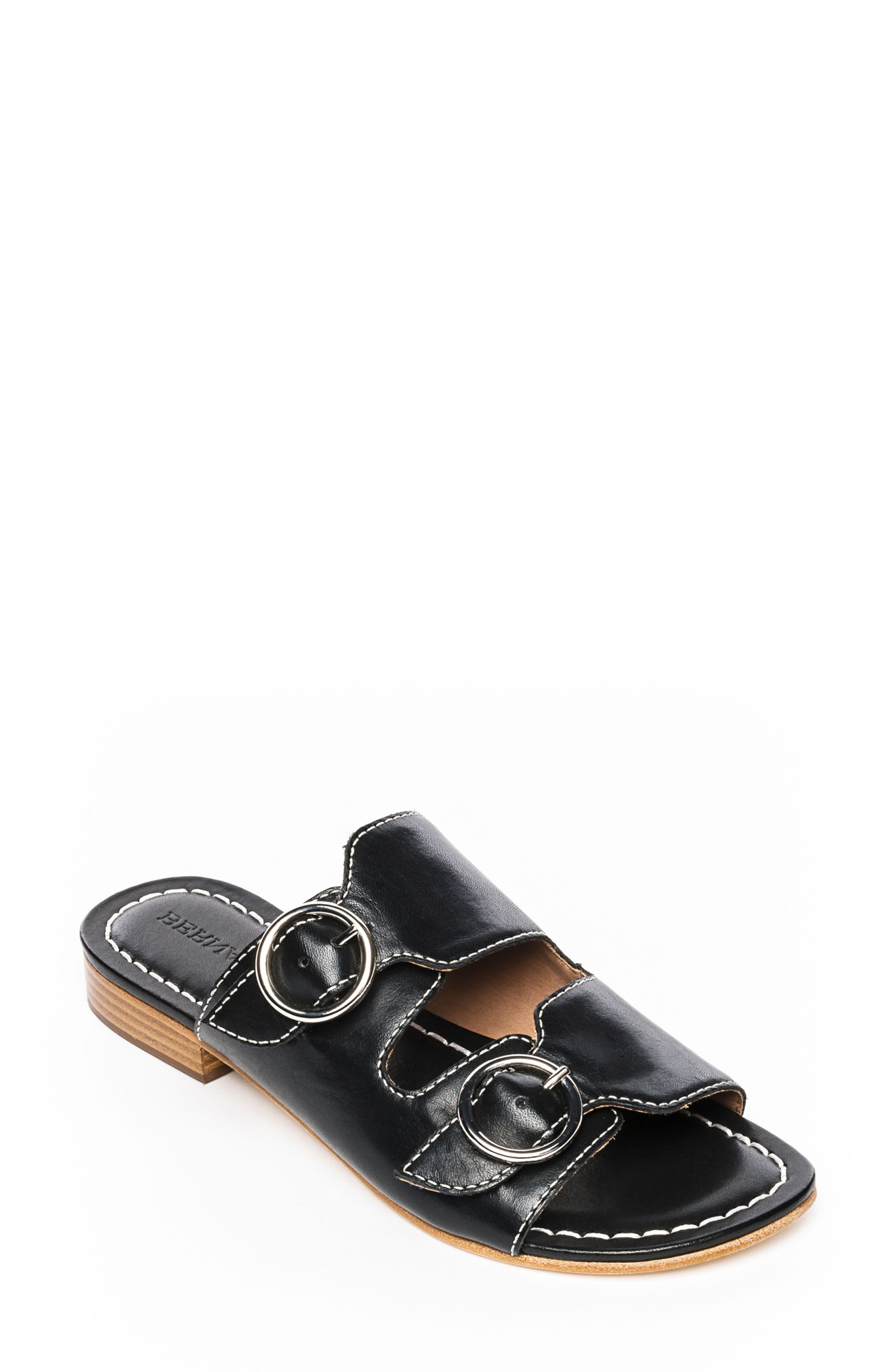 Bernardo Tobi Slide Sandal,                             Main thumbnail 1, color,                             Black Leather