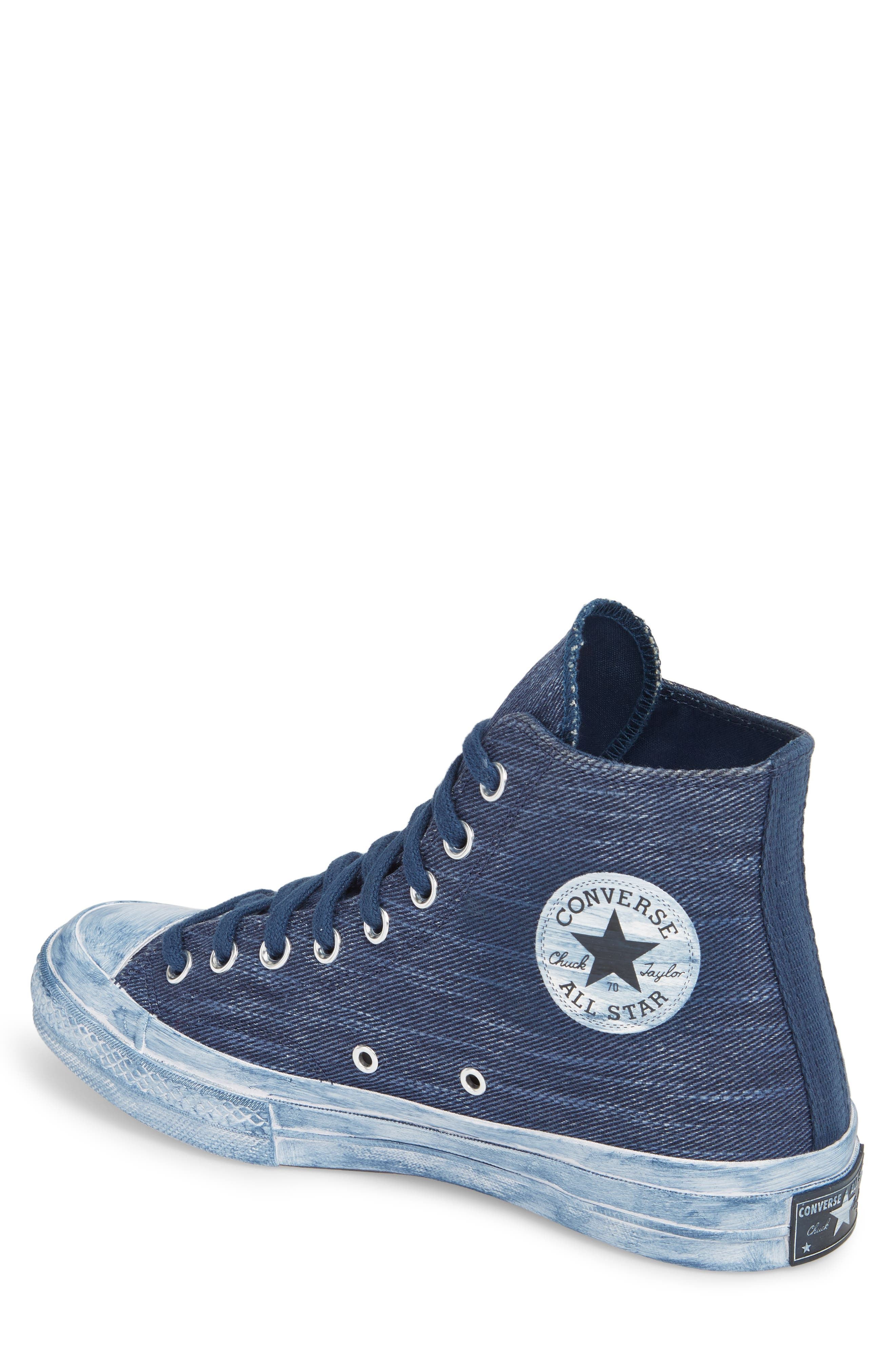 Chuck Taylor<sup>®</sup> All Star<sup>®</sup> Overdyed Linen High Top Sneaker,                             Alternate thumbnail 2, color,                             Navy