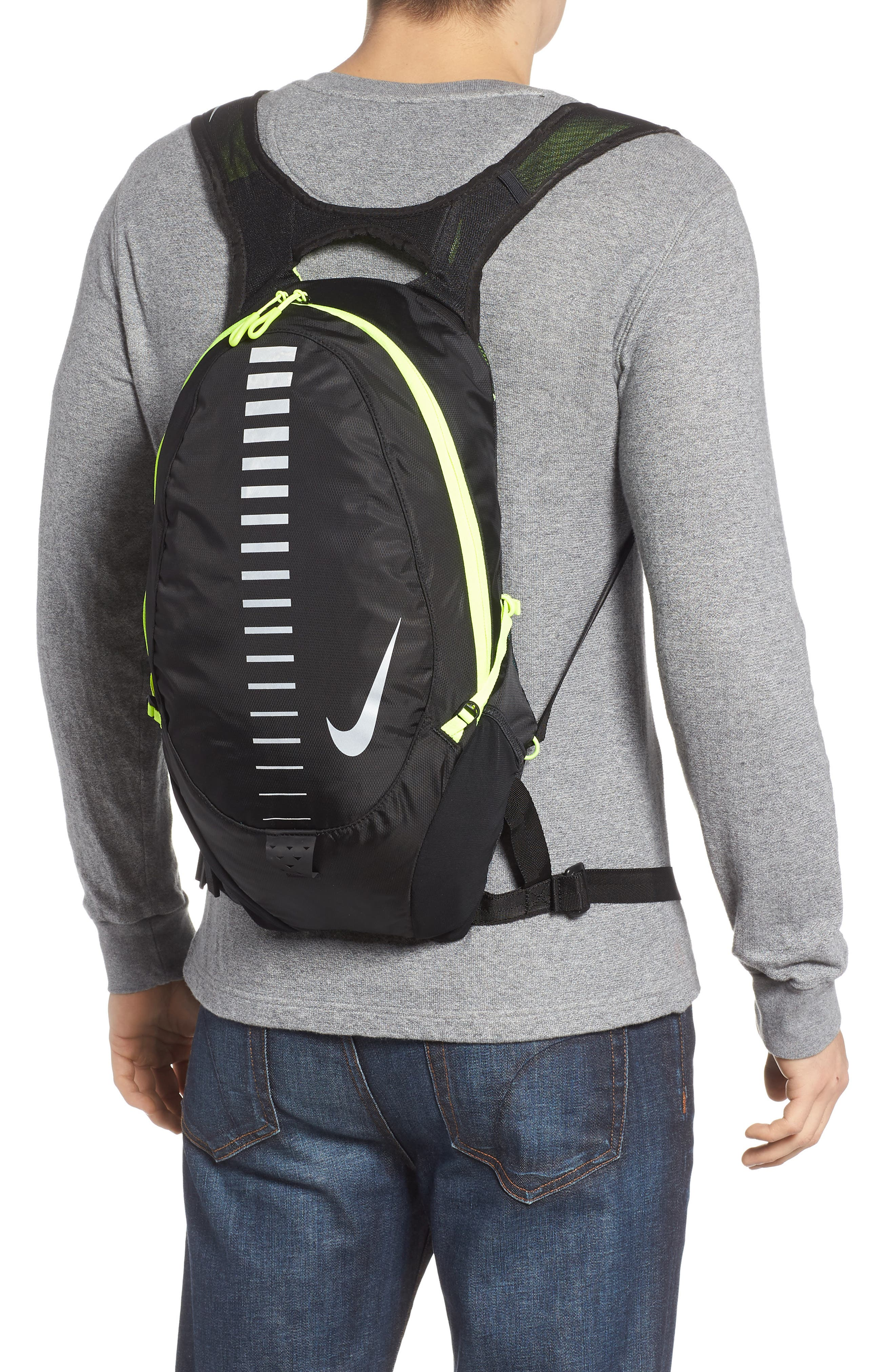 Run Commuter Backpack,                             Alternate thumbnail 2, color,                             Black/ Volt/ Silver
